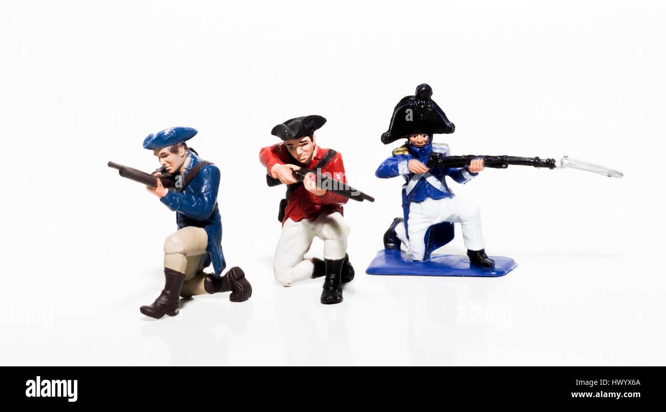 Spielzeug-britische, amerikanische und französische Truppen Stockbild
