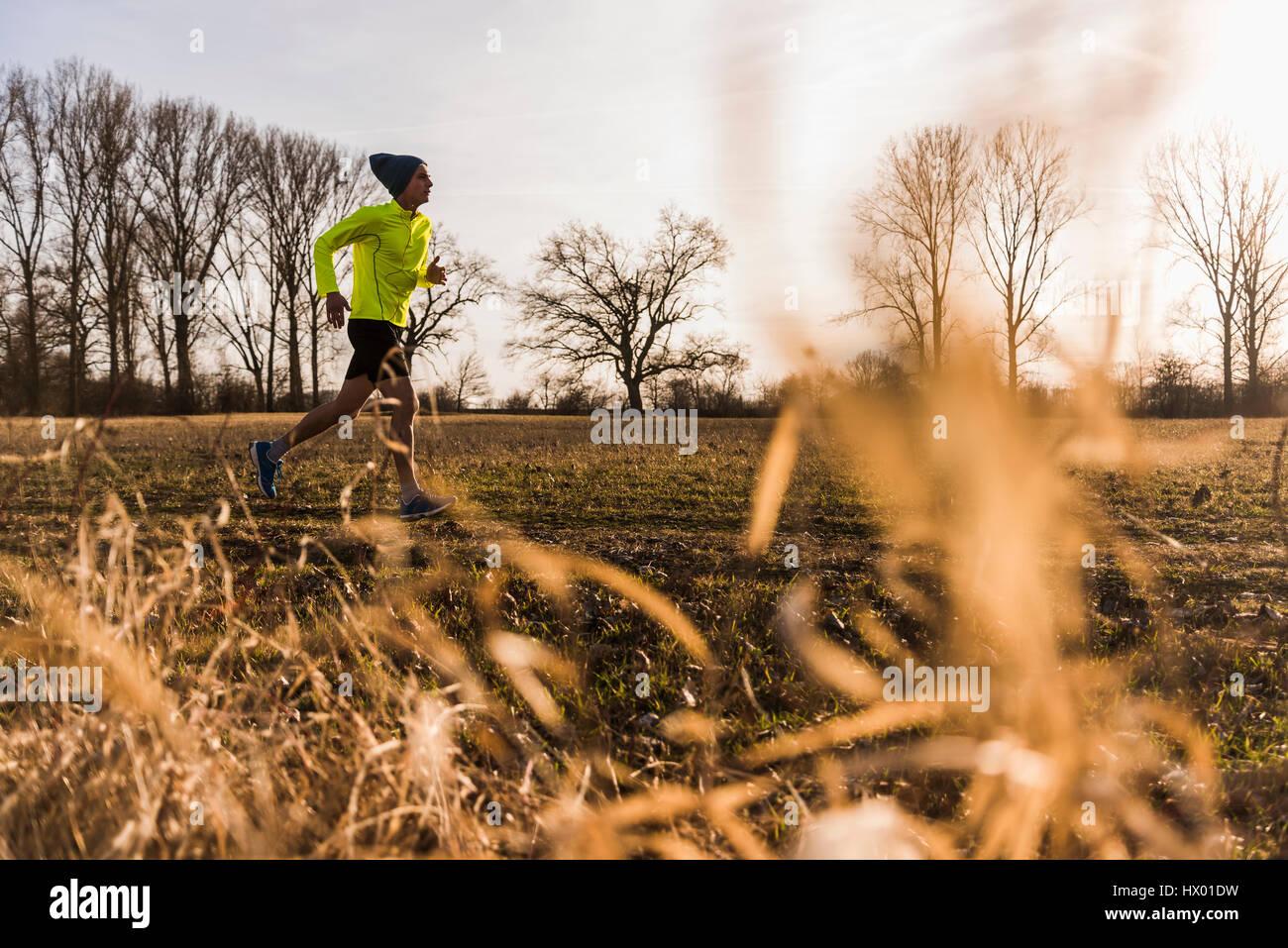 Mann läuft in ländlichen Landschaft Stockbild