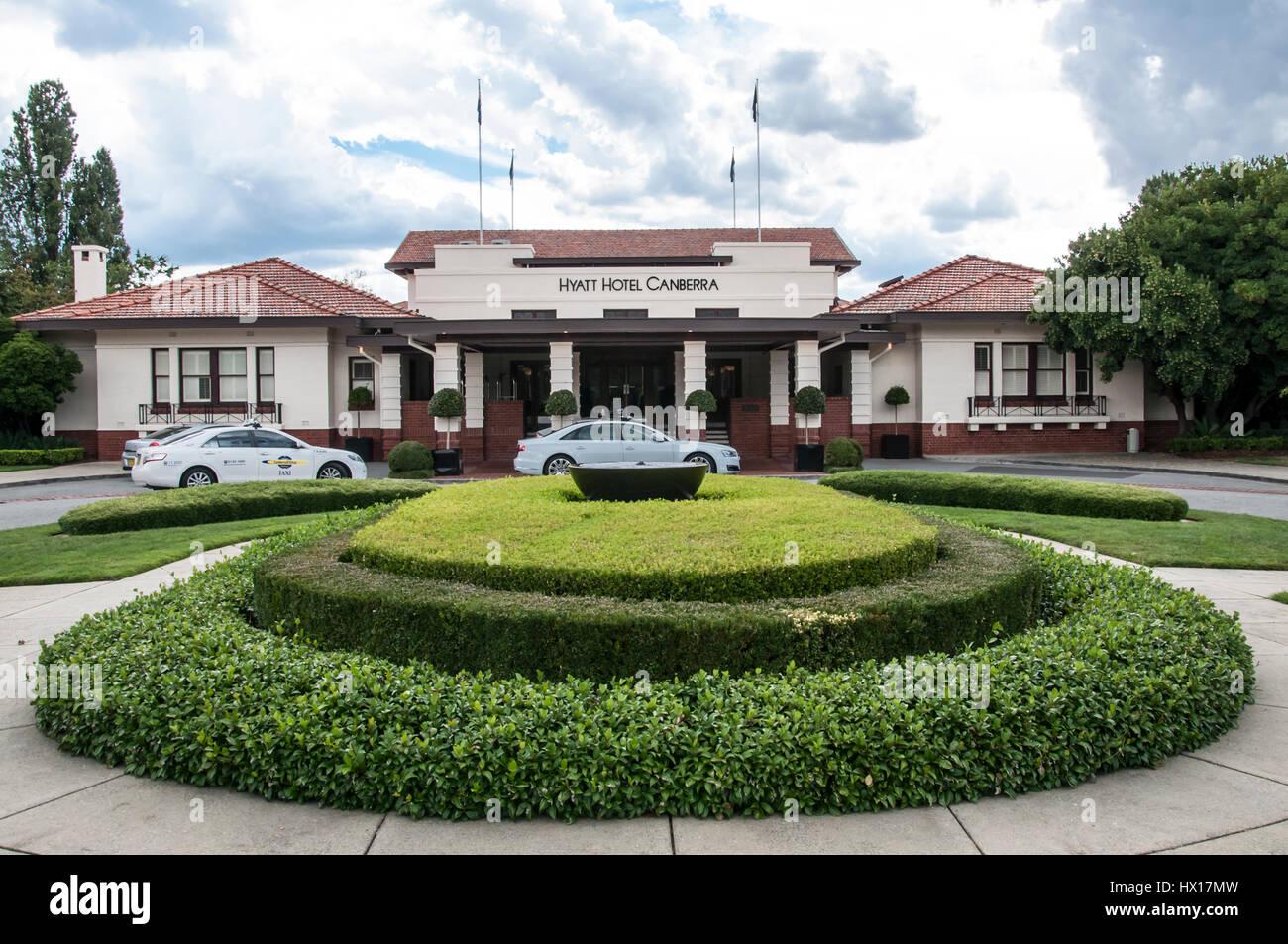 Hyatt Hotel Canberra eröffnete 1924 eine Regierung-Hostel in Australien der neuen Bundeshauptstadt Stockbild
