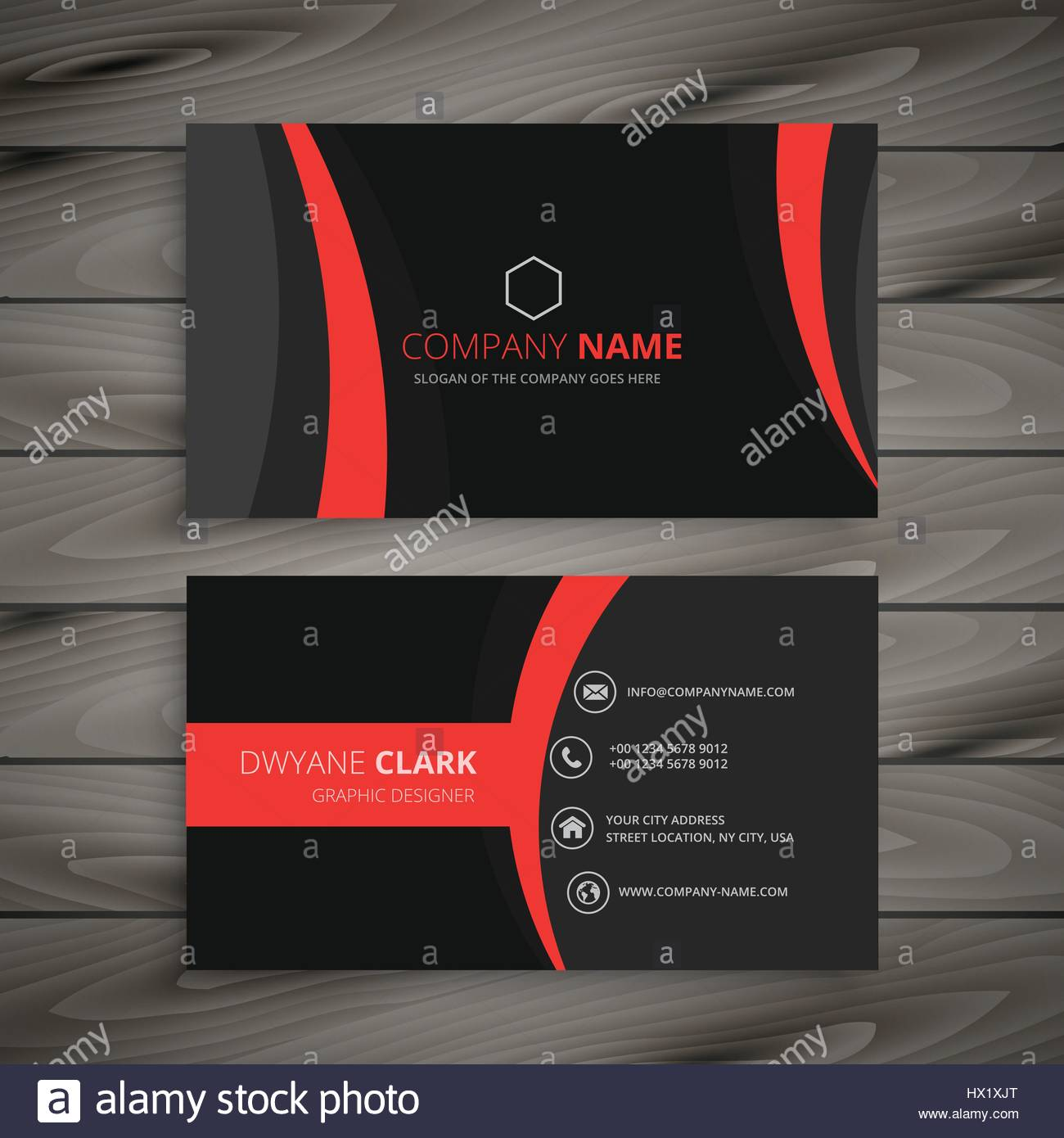 Dunkle Moderne Rot Schwarz Visitenkarte Vorlage Design