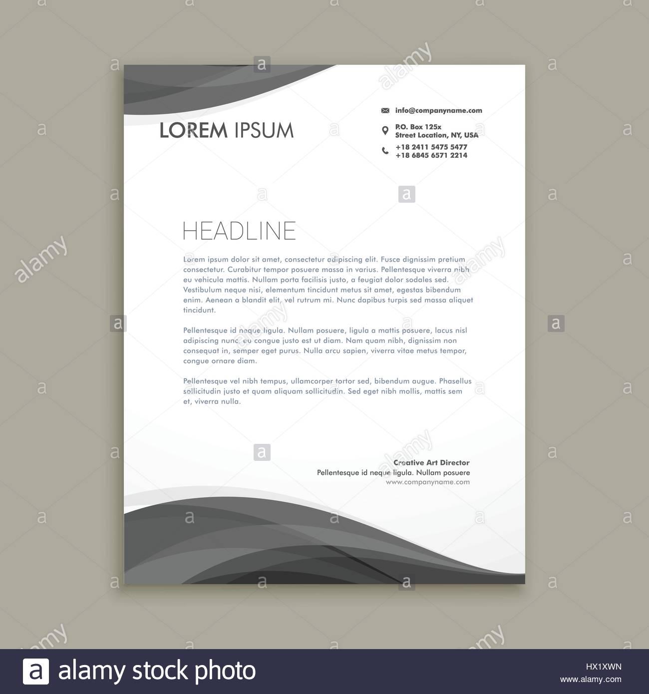 Moderne Briefkopf Design Mit Schwarzen Welle Vorlage Vektor Design