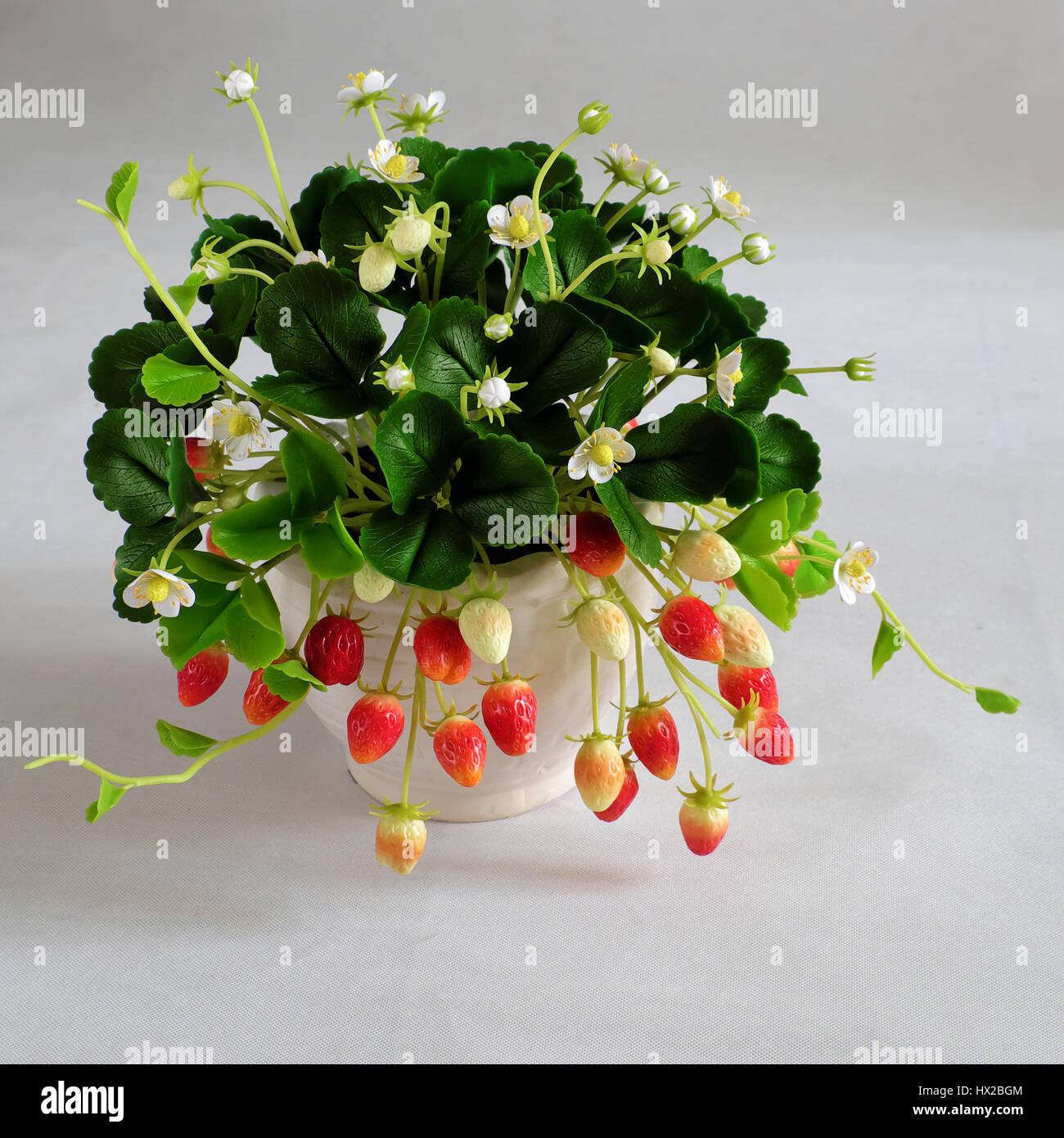 Erstaunliche Ton Blumenkunst mit Erdbeer Topf aus Ton mit weiße ...