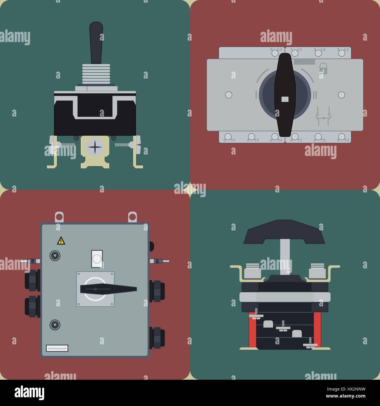 Flache elektrische Symbole Leistungsschalter, Schaltkontakt ...