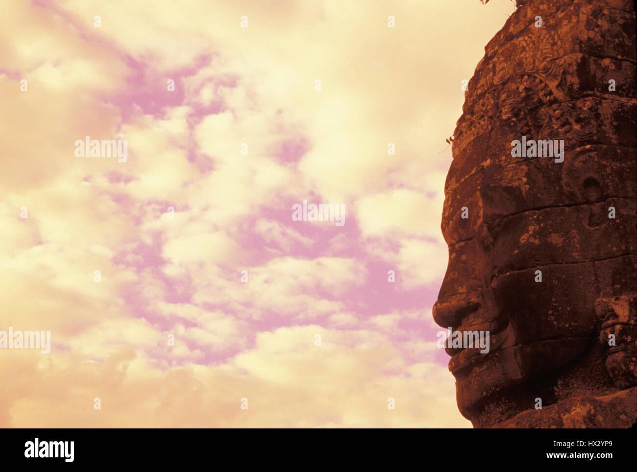 Buddha-Statue im Profil an der Bayon-Tempel. Siem Reap, Kambodscha Stockbild