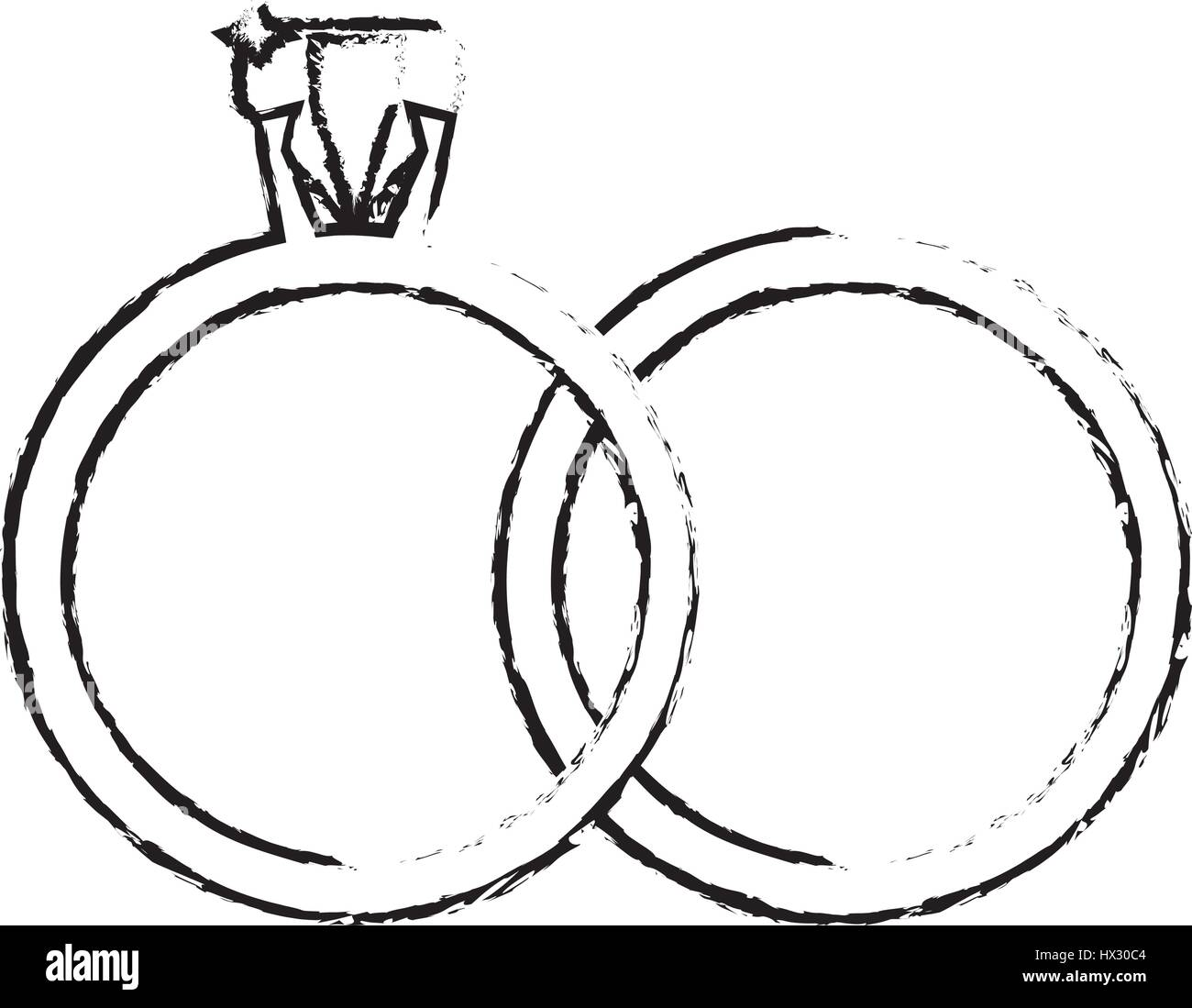 Ringe Schmuck Hochzeit Symbol Skizze Vektor Abbildung Bild