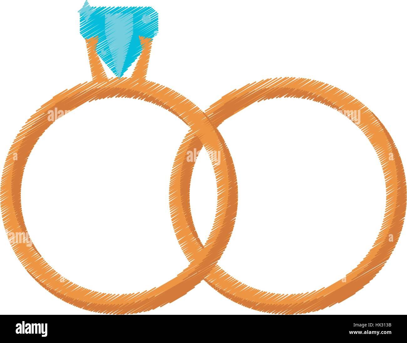 Goldene Ringe Hochzeit Symbol Zeichnen Vektor Abbildung Bild