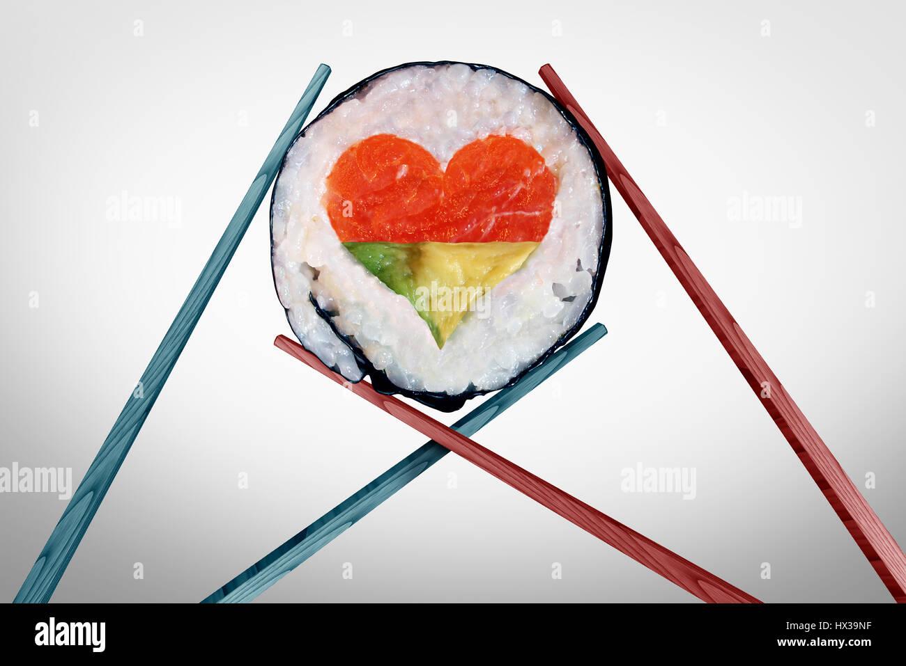 Abendessen für zwei Essen und romantisches Date-Konzept als ein paar Stäbchen mit einem Sushi-Stück Stockbild