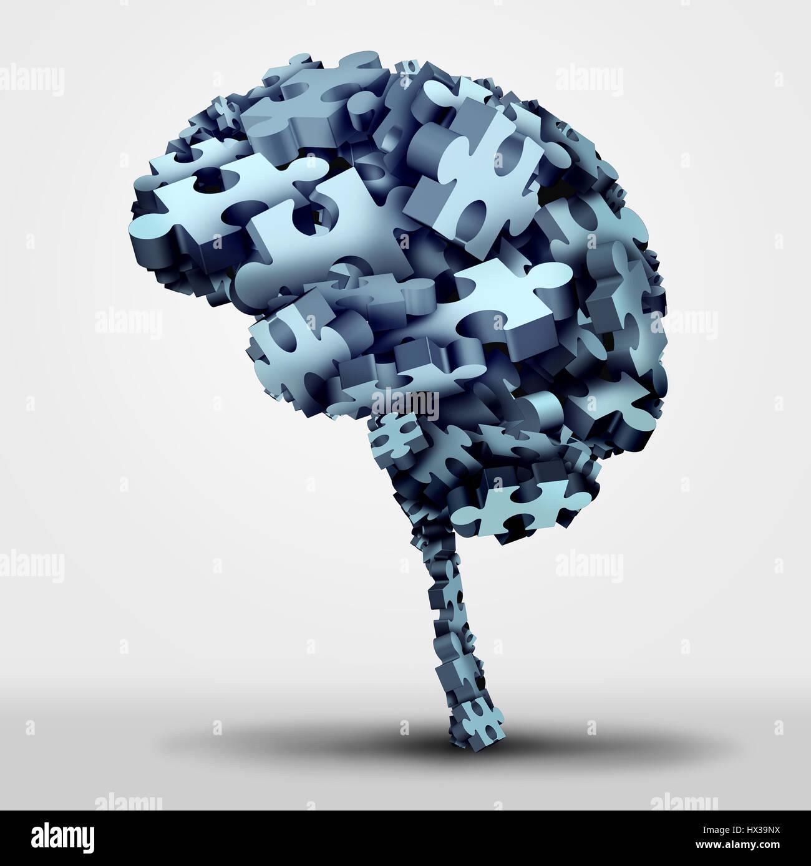 Gehirn-Puzzle-Konzept und neurologische oder psychische Gesundheit Symbol als Neurologie und Psychologie-Symbol Stockfoto