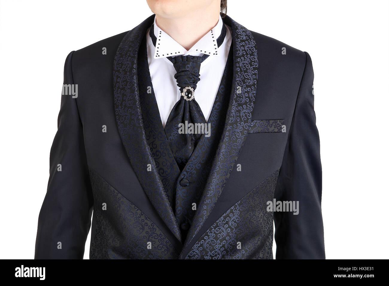 Dunkel Grau Herren Hochzeitsanzug Bedruckt Mit Blumen Einem Button