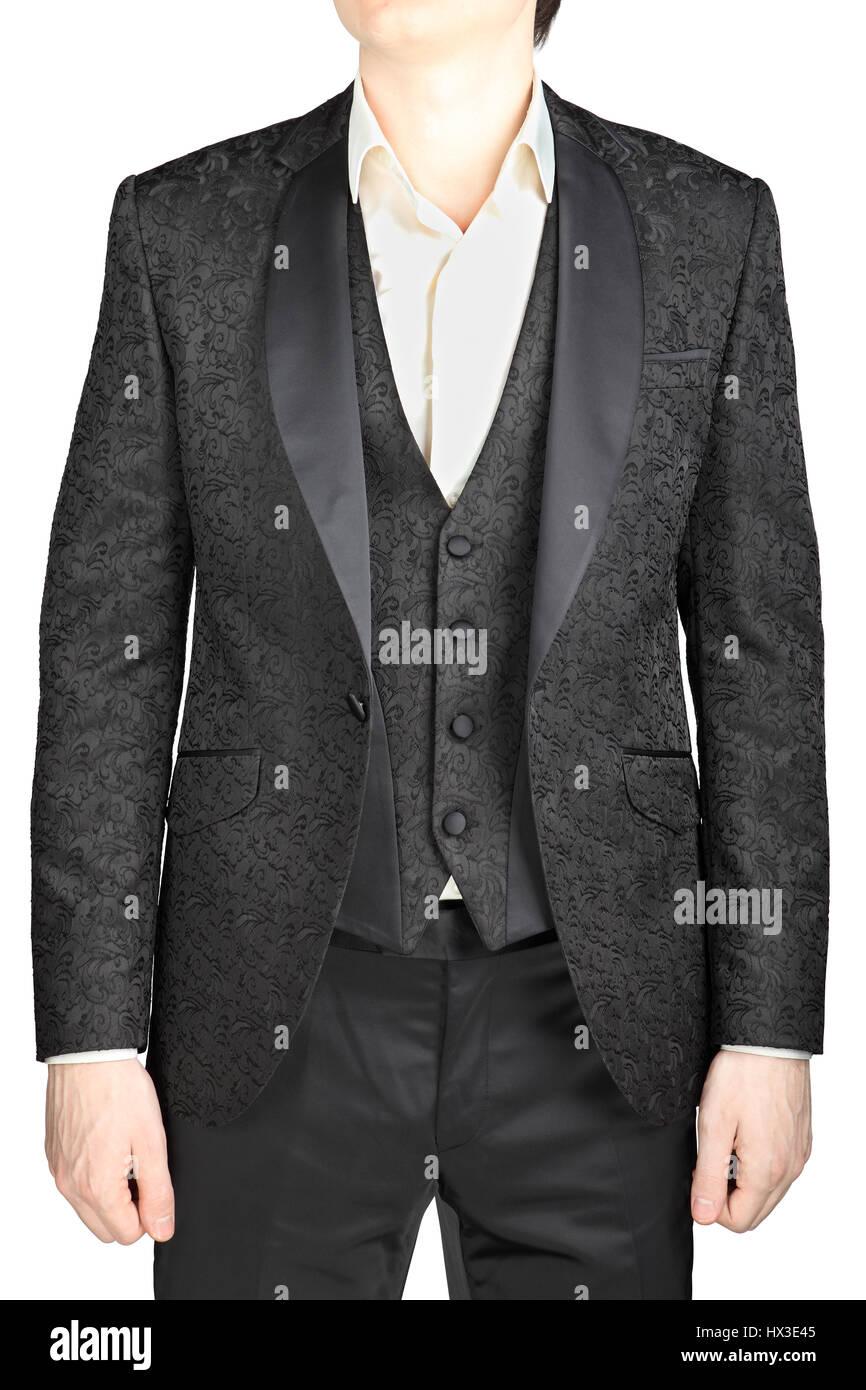 m nnliche hochzeit anzug grau muster kn pfte sakko weste wei es hemd ohne krawatte isoliert. Black Bedroom Furniture Sets. Home Design Ideas