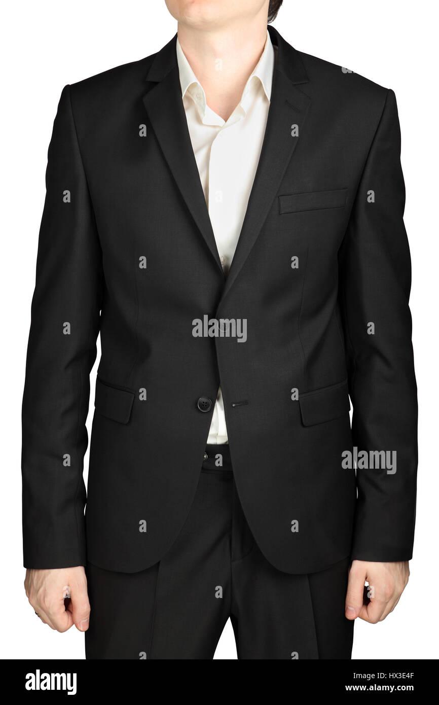Graue Herren Jacke zwei Knöpfe zugeknöpft, weißes Hemd ohne Krawatte ...