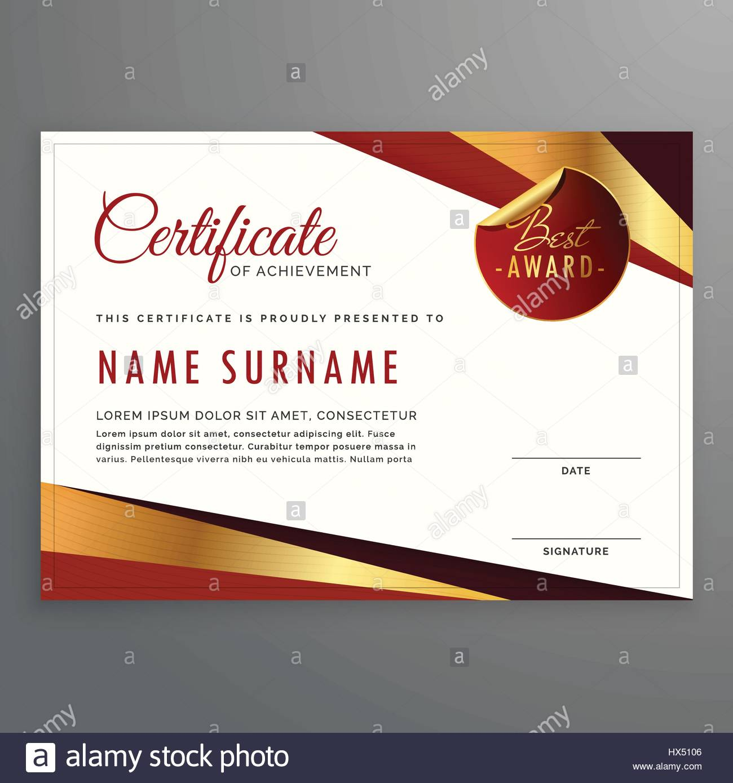 Luxus-Zertifikat-Vorlage-Design mit eleganten goldenen und roten ...