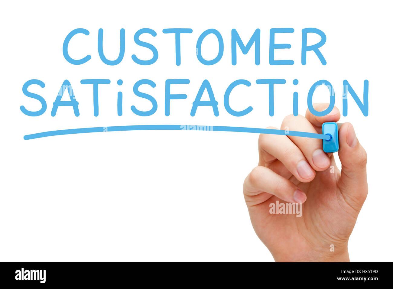Handschrift Kundenzufriedenheit mit blaue Markierung auf transparentem Glas. Stockbild