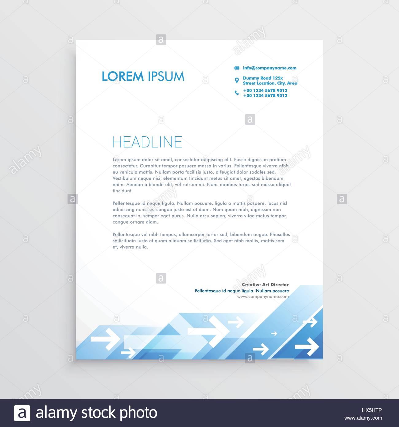 Kreative Briefkopf Design Mit Abstrakten Blauer Pfeil Design Vektor