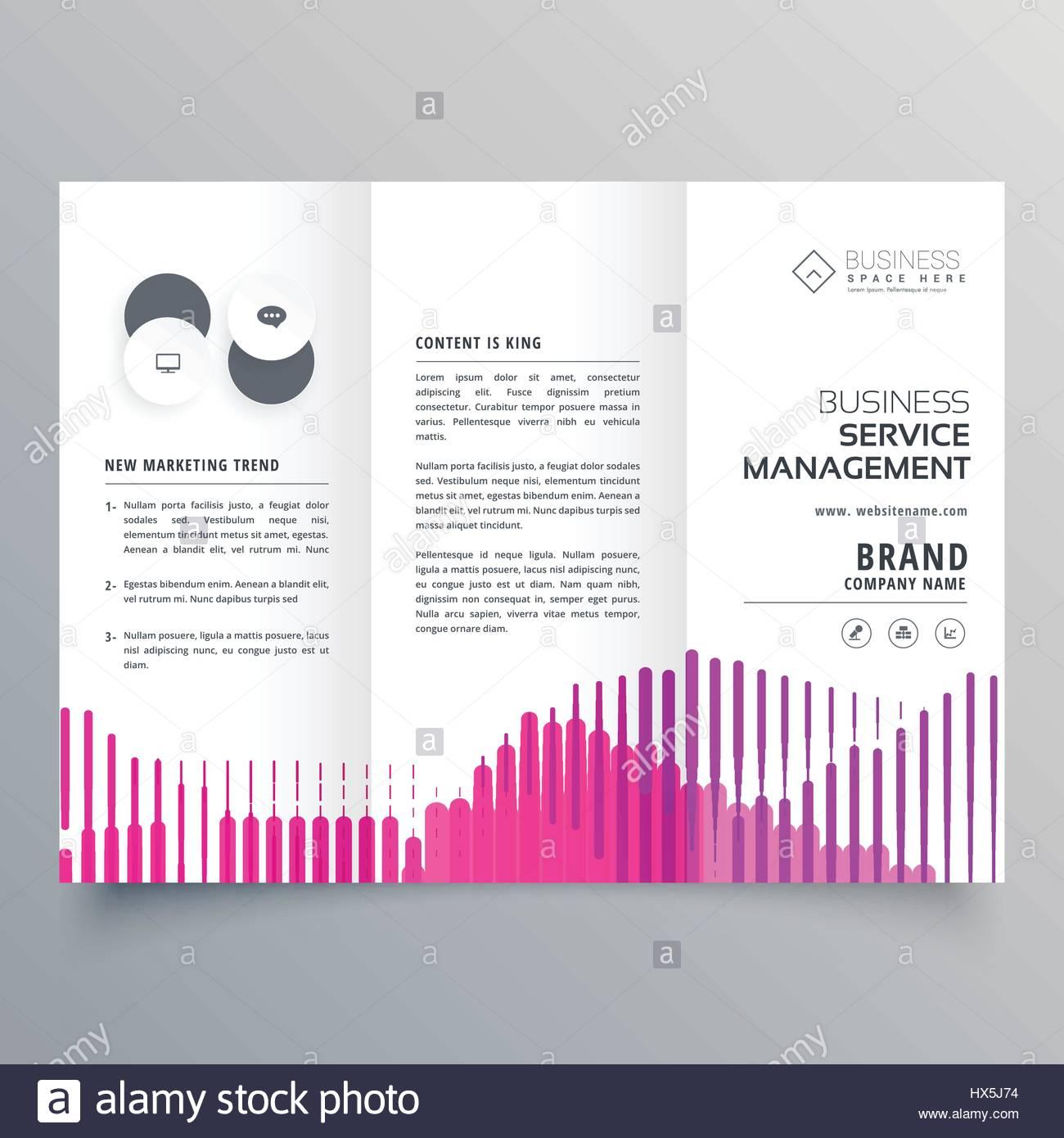 abstrakte Trifold Business Broschüre Vorlage mit rosa Streifen im ...