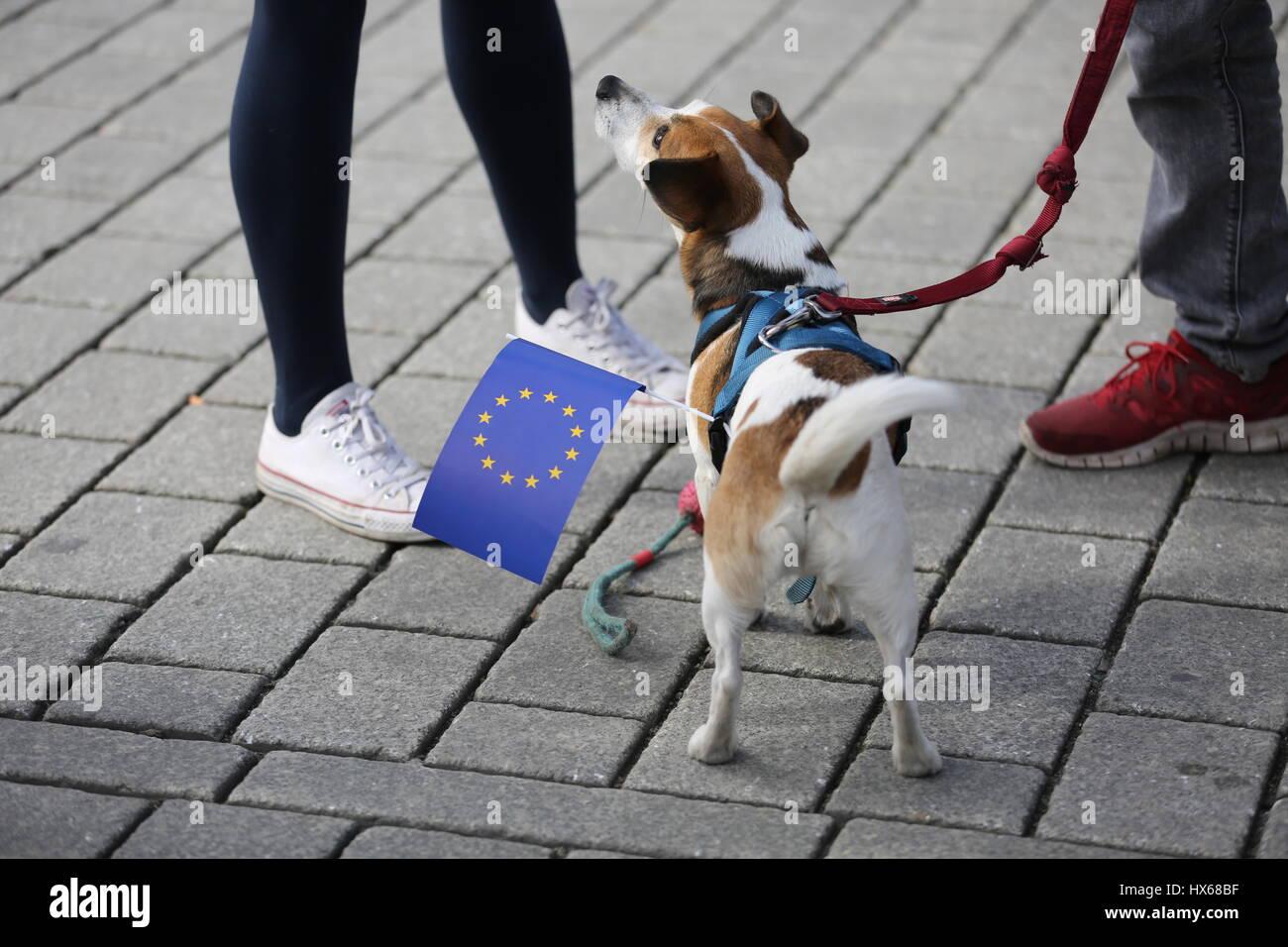 """Berlin, Deutschland. 25. März 2017. Heute demonstrieren Tausende von Menschen zum """"Marsch für Europa"""" des Ortes Stockfoto"""