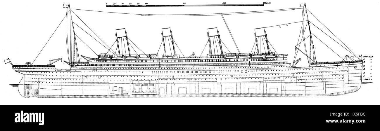 Titanic Seite Plan 1911 Stockfoto Bild 136597424 Alamy