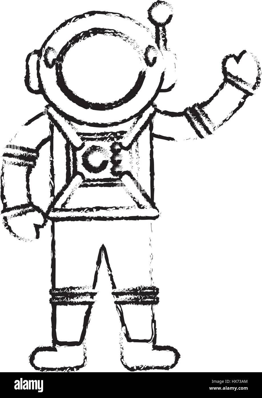 Astronauten-Anzug-Spaceman-Skizze Stockbild