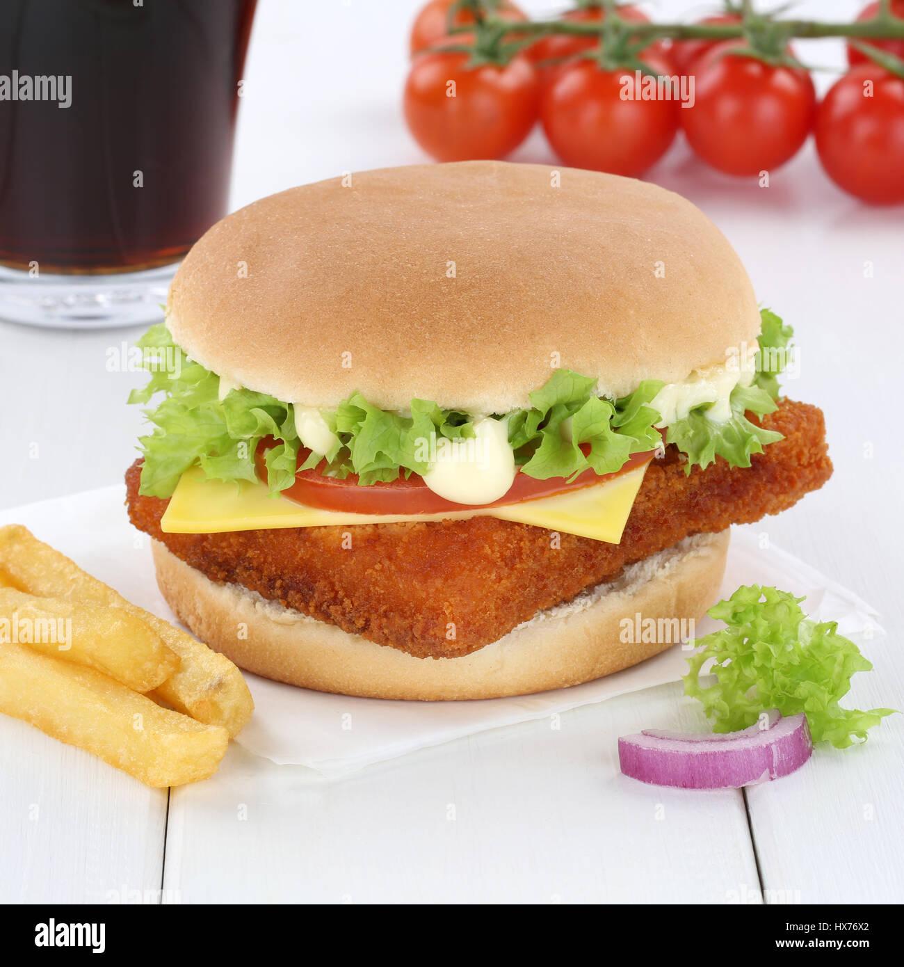 Fisch Burger Fishburger Hamburger Menü Essen Cola trinken Fastfood Stockbild