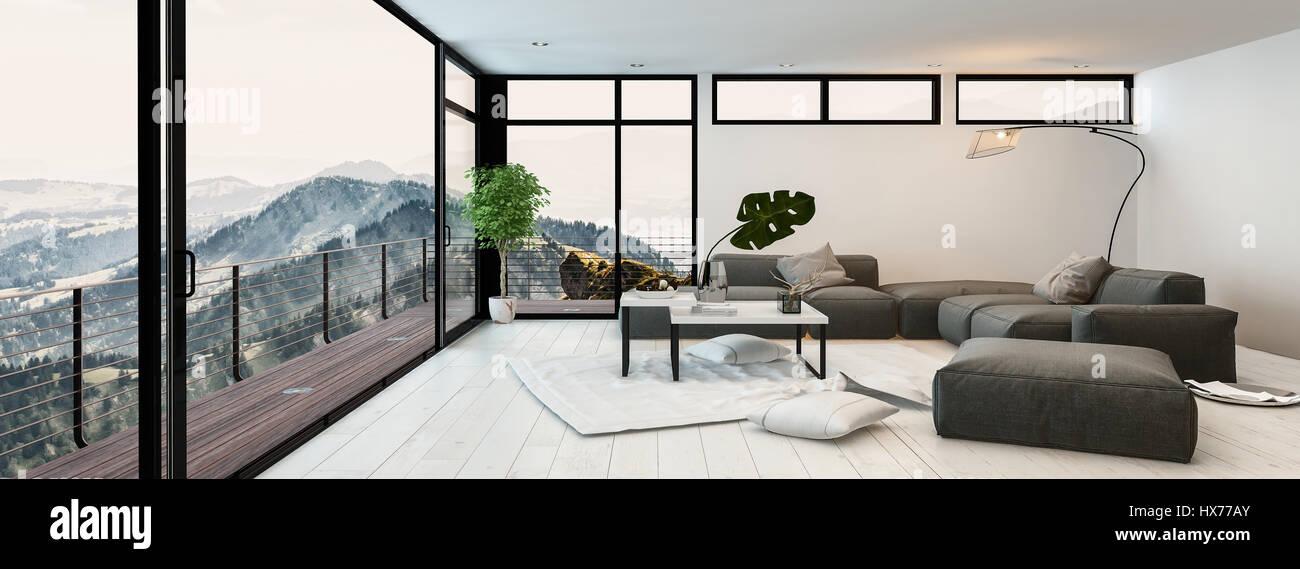 Grosse Moderne Verglasten Wohnzimmer Interieur Mit Blick Auf Berge Und Tler Grauen Couchgarnitur Couchtisch