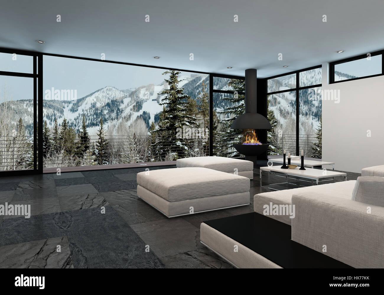 Minimalistische luxus wohnlandschaft in den bergen mit großen wrap