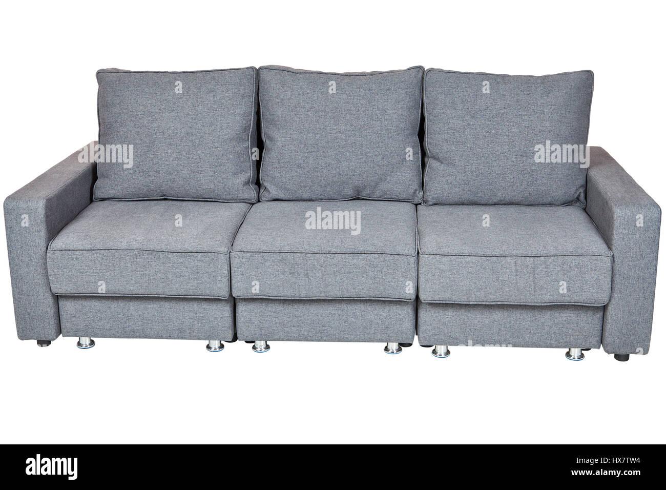 Wohnzimmer Sofas Möbel, Cabrio Stoff Schlafsofa Futon Dunkelgrau, Isoliert  Auf Weißem Hintergrund Gehören Clipping Pfad.