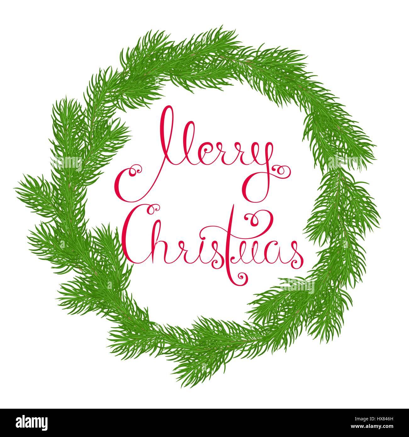 Festliche Kranz oder Gestell aus Tannenzweigen mit Frohe Weihnachten ...