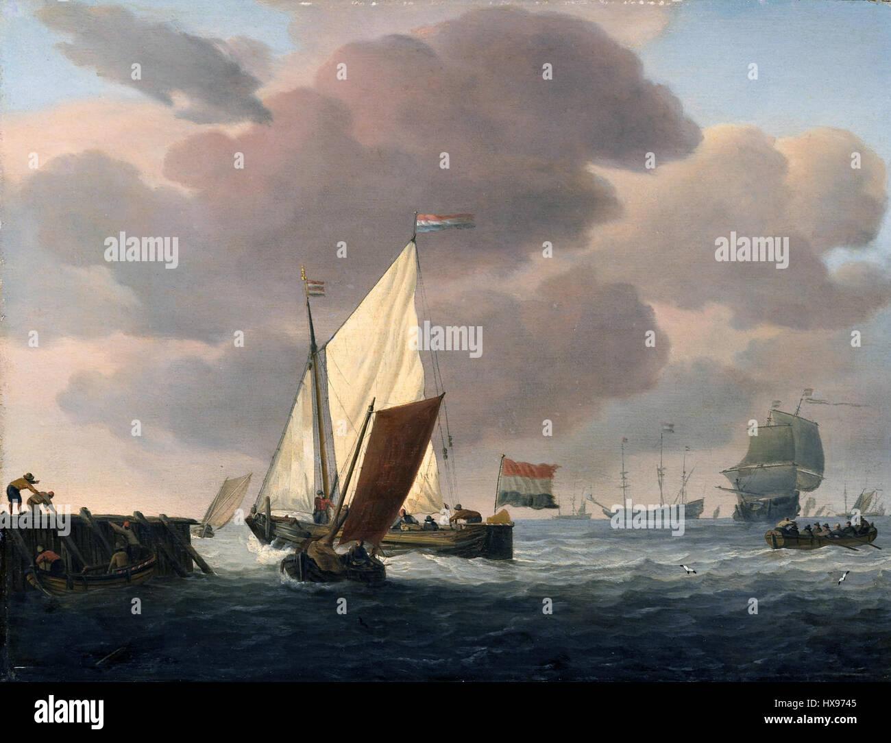 Löwener Voor de Kust Bij Flinke Bries Schiffe an der Küste bei windigem Wetter (Willem van de Velde II) Stockbild