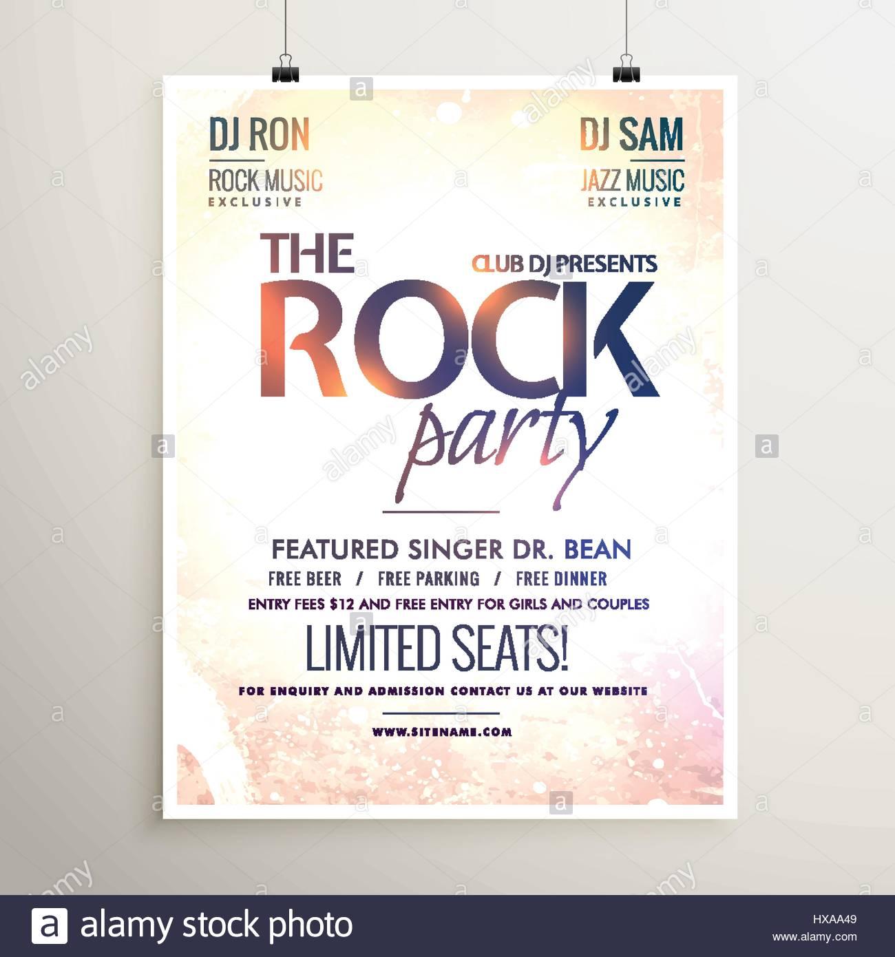 Rock Party Musik Flyer Vorlage mit strukturierten Hintergrund Vektor ...