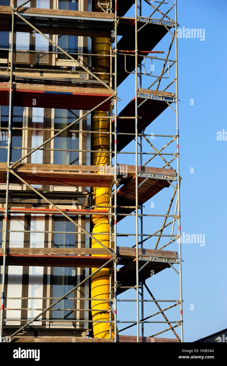 Anfänge, blauer Himmel, Gebäude, Bau, Architektur, Baukran, Kran, Tag, Entwicklung, Europa, europäische, Stockbild