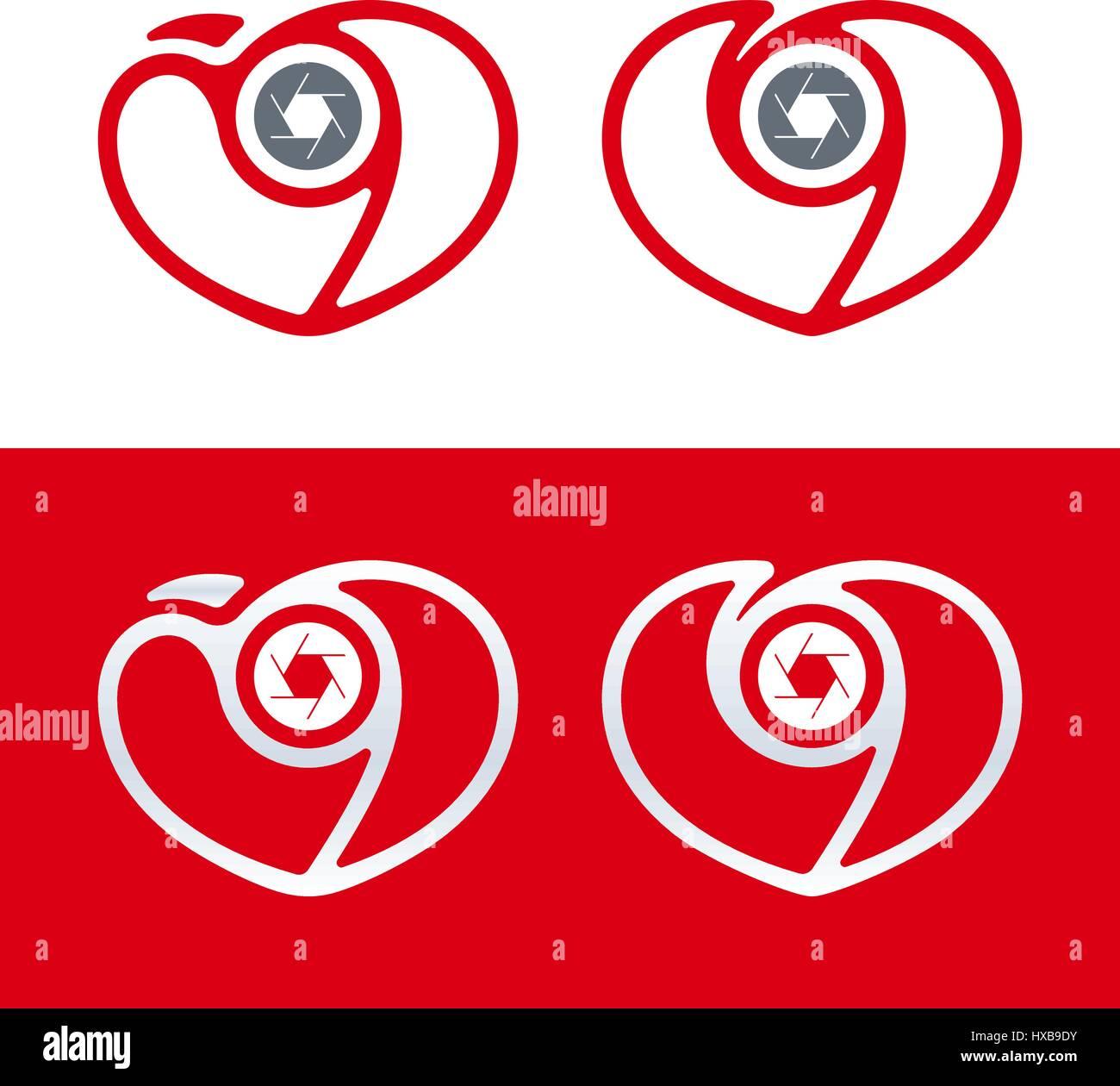 Herz und Verschlusszeit geformt minimal Fotografie-Logo-Design mit ...