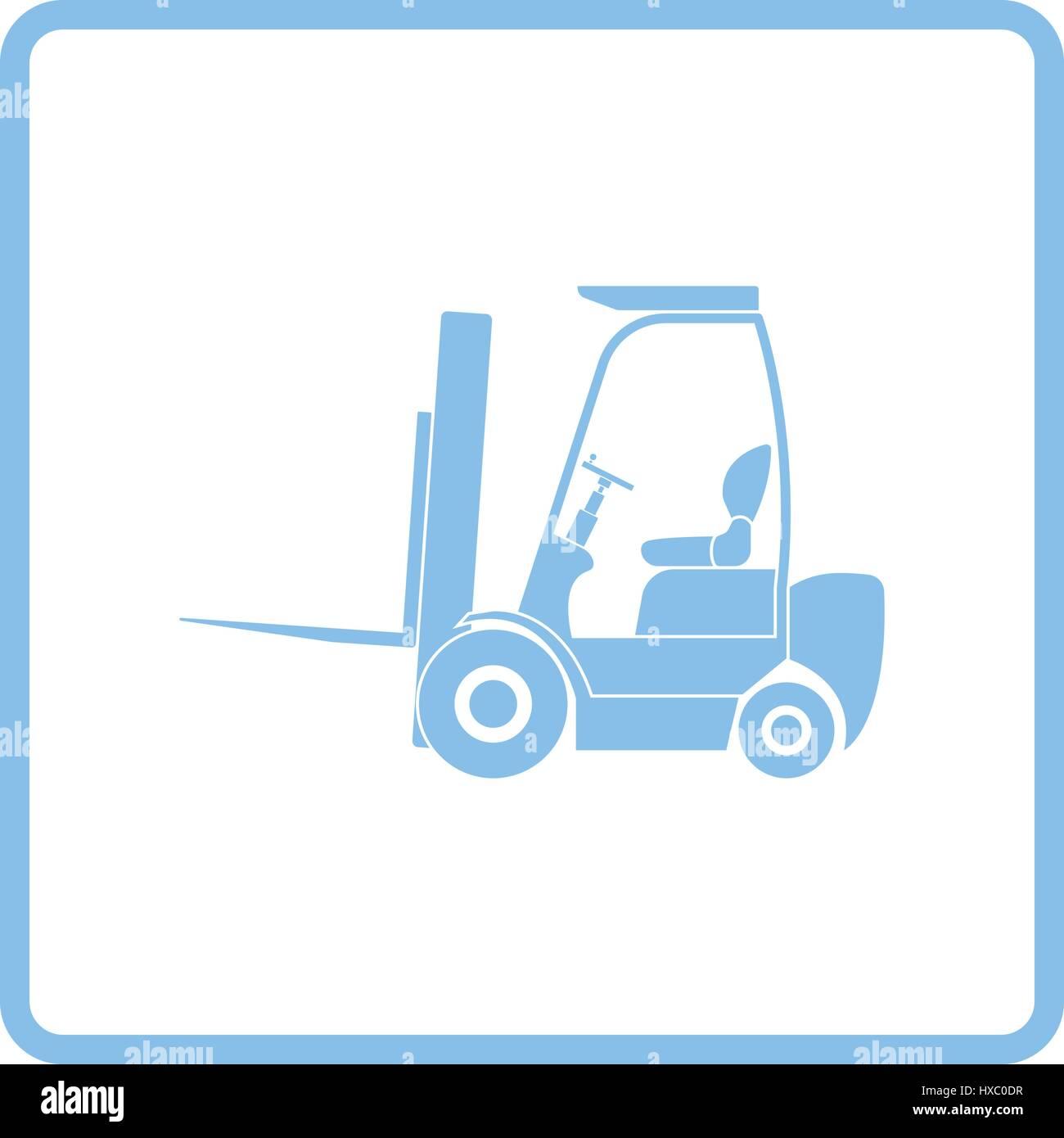 Lager-Gabelstapler-Symbol. Blauer Rahmen-Design. Vektor-Illustration ...
