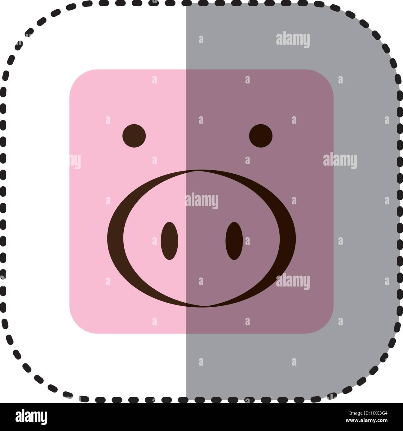 bunte Gesicht Aufkleber von Schwein Gesicht im quadratischen Rahmen ...