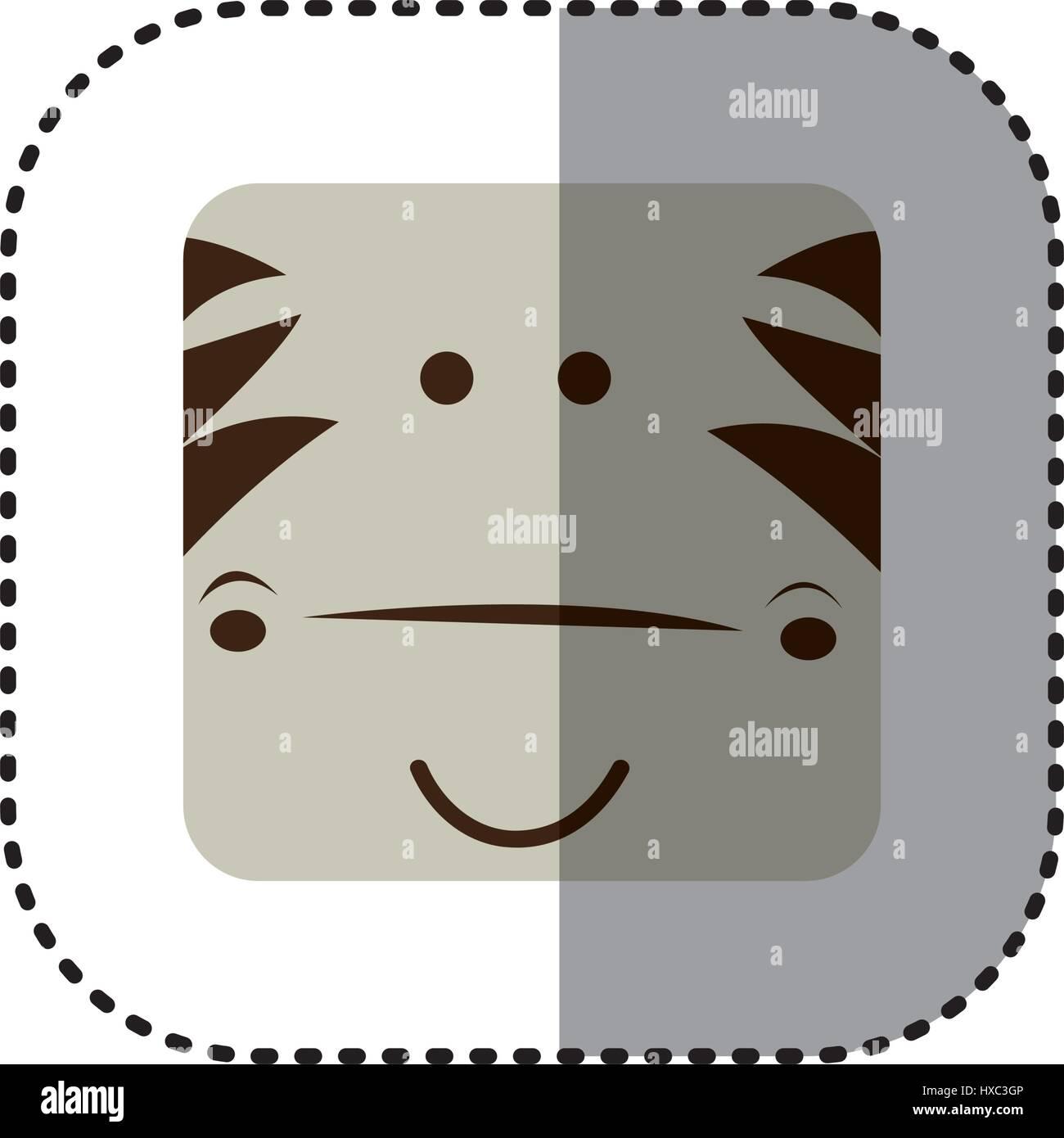 bunte Gesicht Aufkleber Zebra Gesicht in quadratischen Rahmen Vektor ...