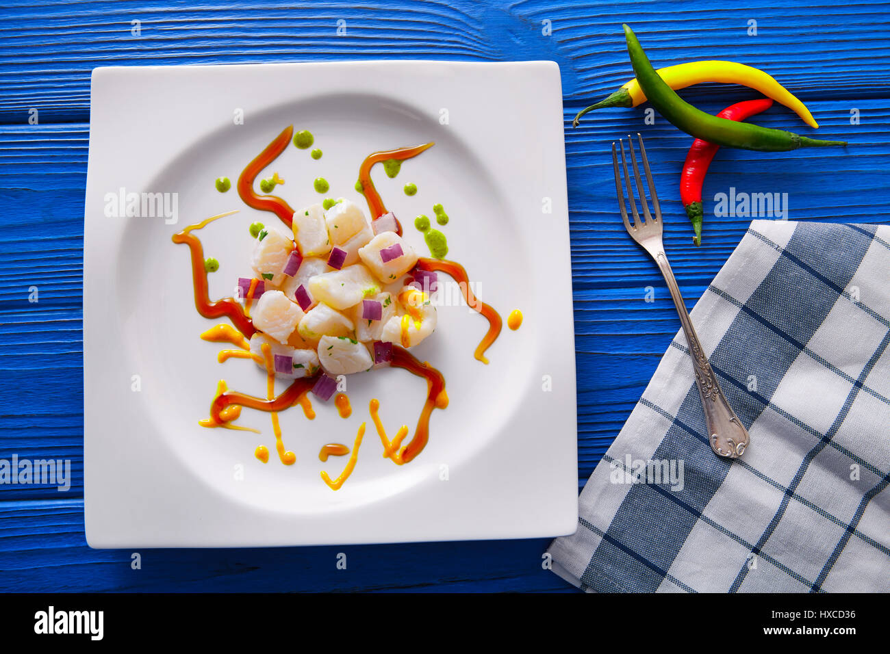 Ceviche rezept moderner gastronomie molekulare küche stockfoto