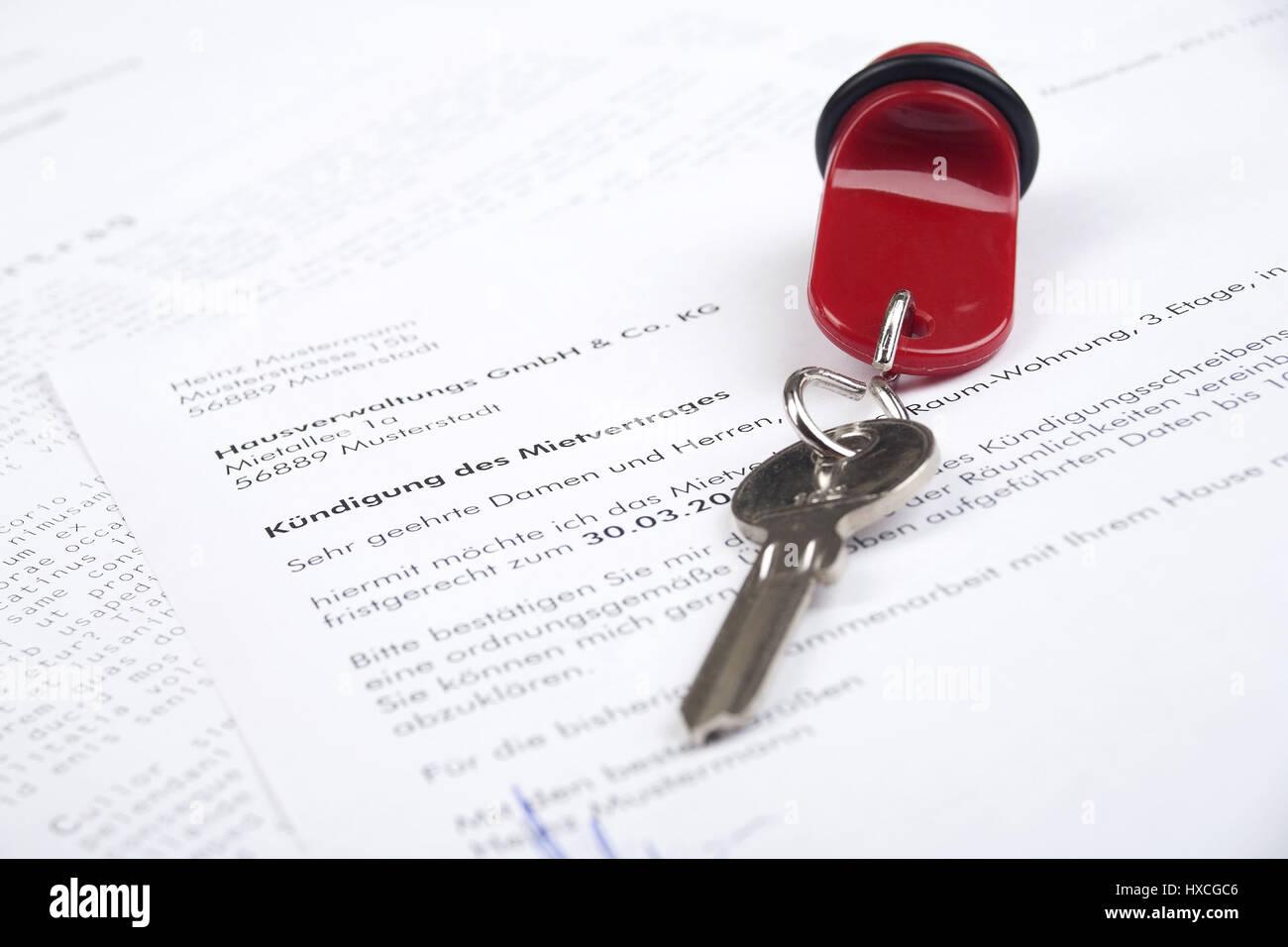 Schriftliche Mitteilung über Einen Mietvertrag Mit Einem Schlüssel