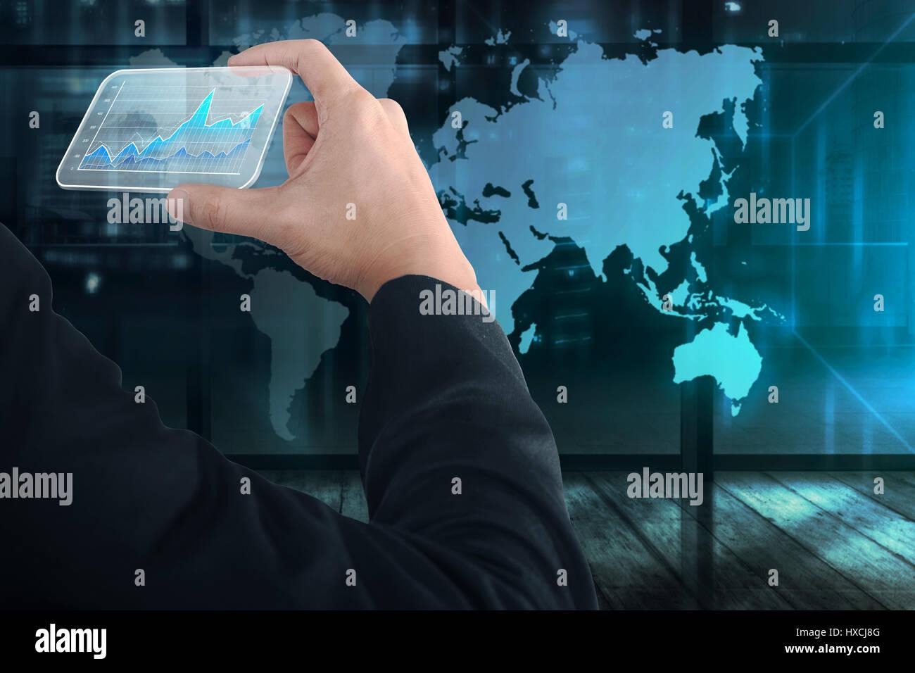Geschäft Leute Hand Hält Virtuelle Visitenkarte Mit Digital