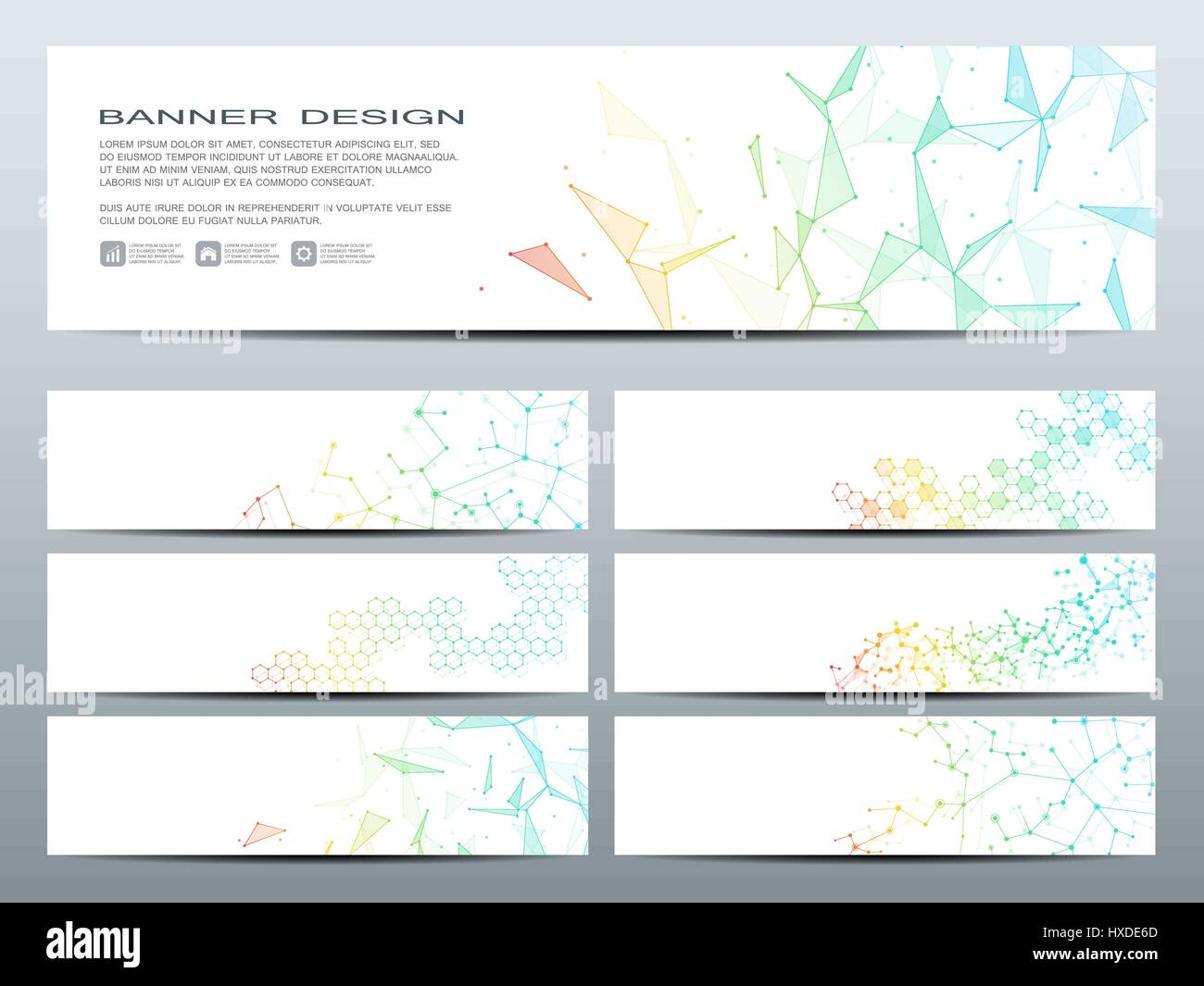 Satz von modernen wissenschaftlichen Banner. DNA-Molekül Struktur ...