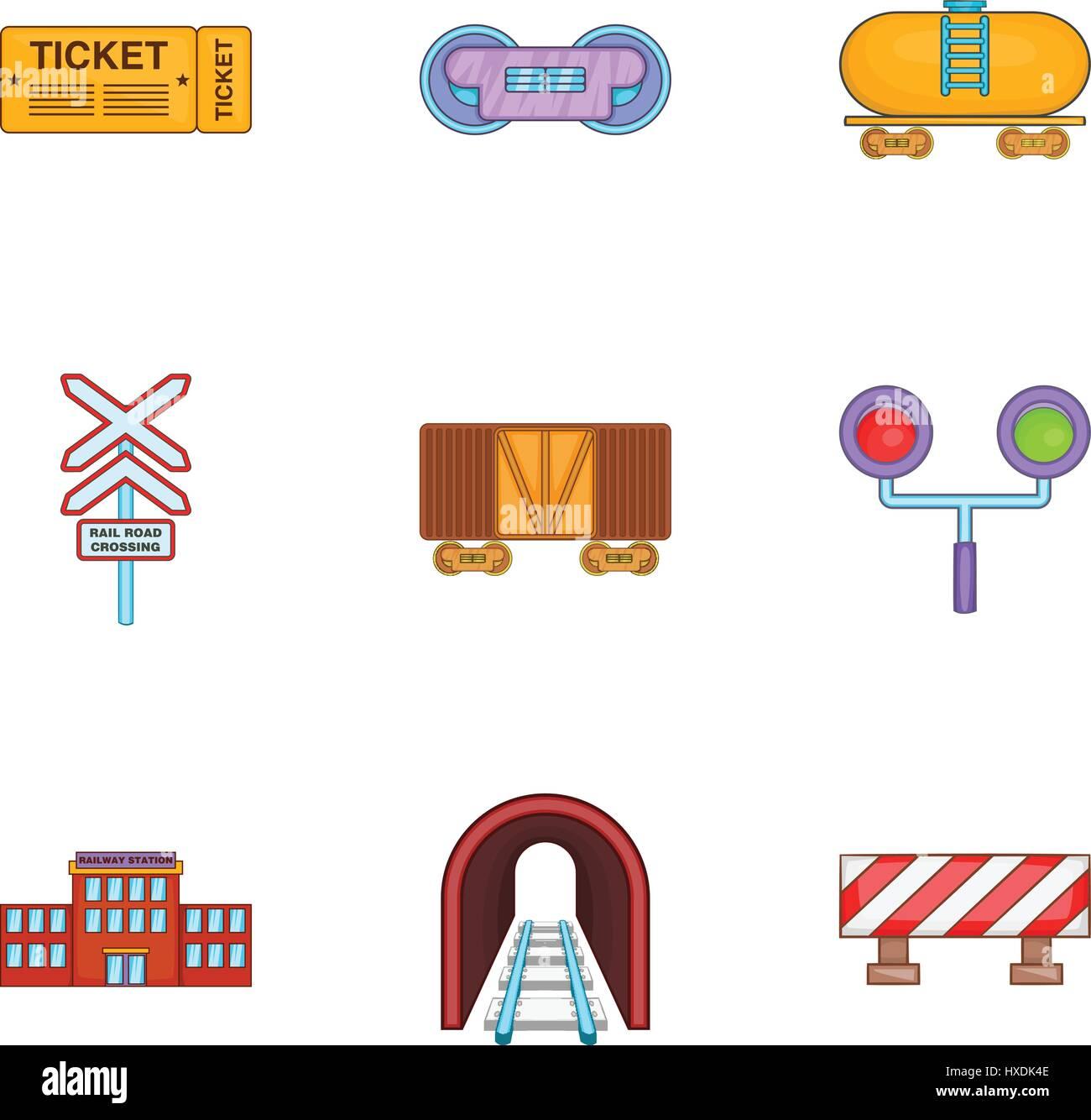 Railroad Crossing Sign Cartoon Icon Stockfotos & Railroad Crossing ...