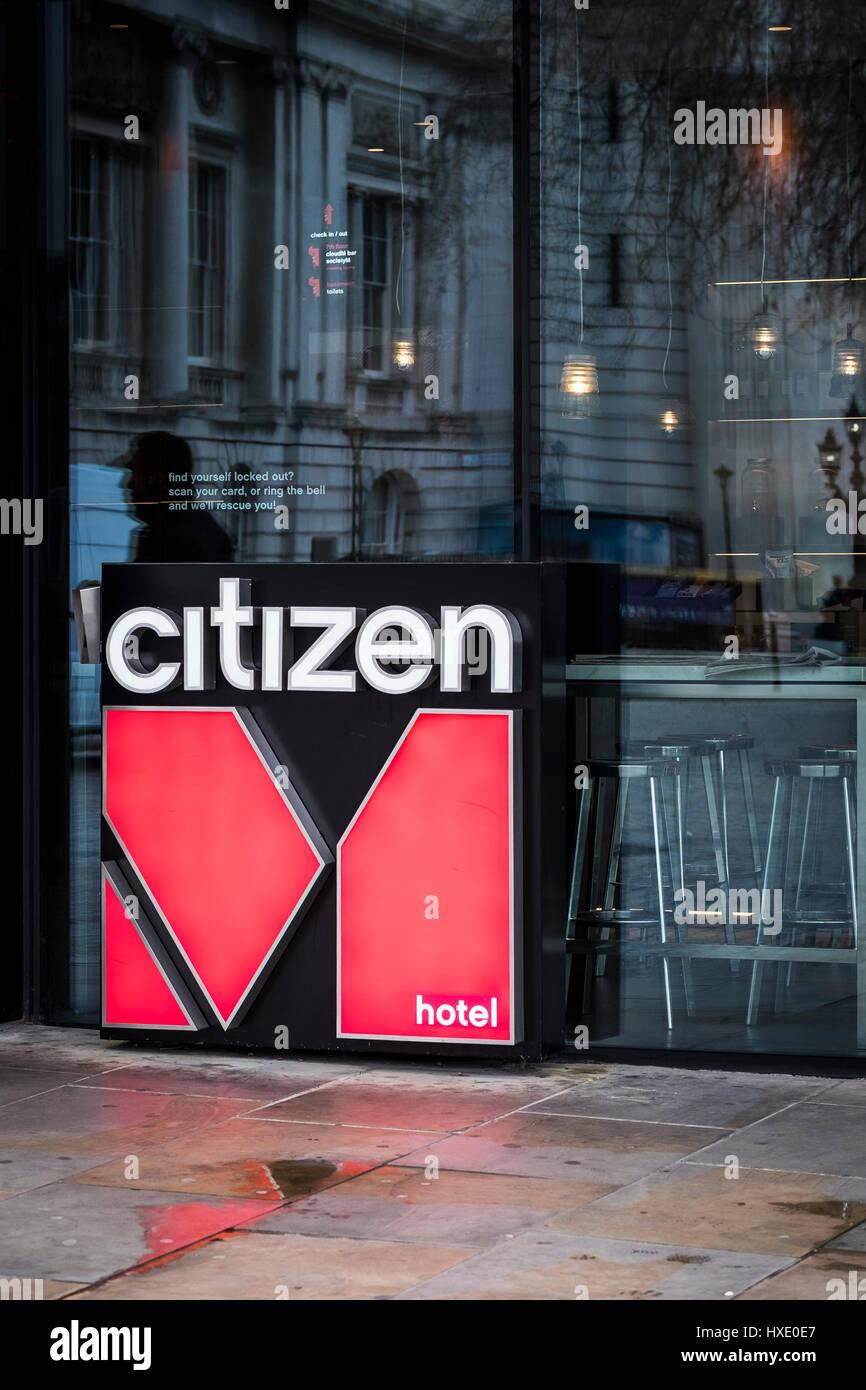 Bürger Hotel logo Zeichen außen London Stockbild