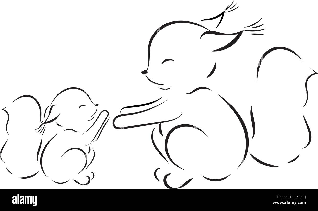 Malvorlagen. Vektor Umrisszeichnung Eichhörnchen Mama und baby ...