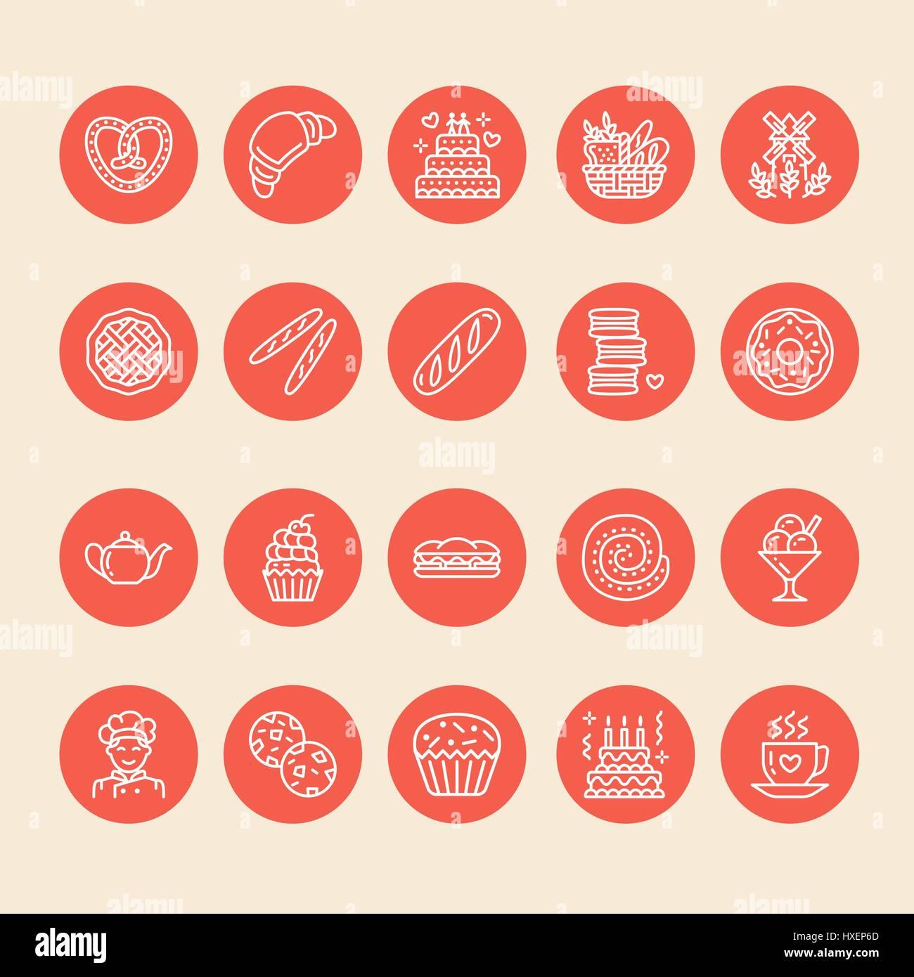 Bäckerei, Konditorei Linie Symbole. Konditorei Produkt - Kuchen ...
