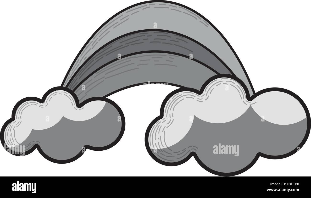 Graustufen-Regenbogen mit Wolke Cartoon-Symbol Stockbild