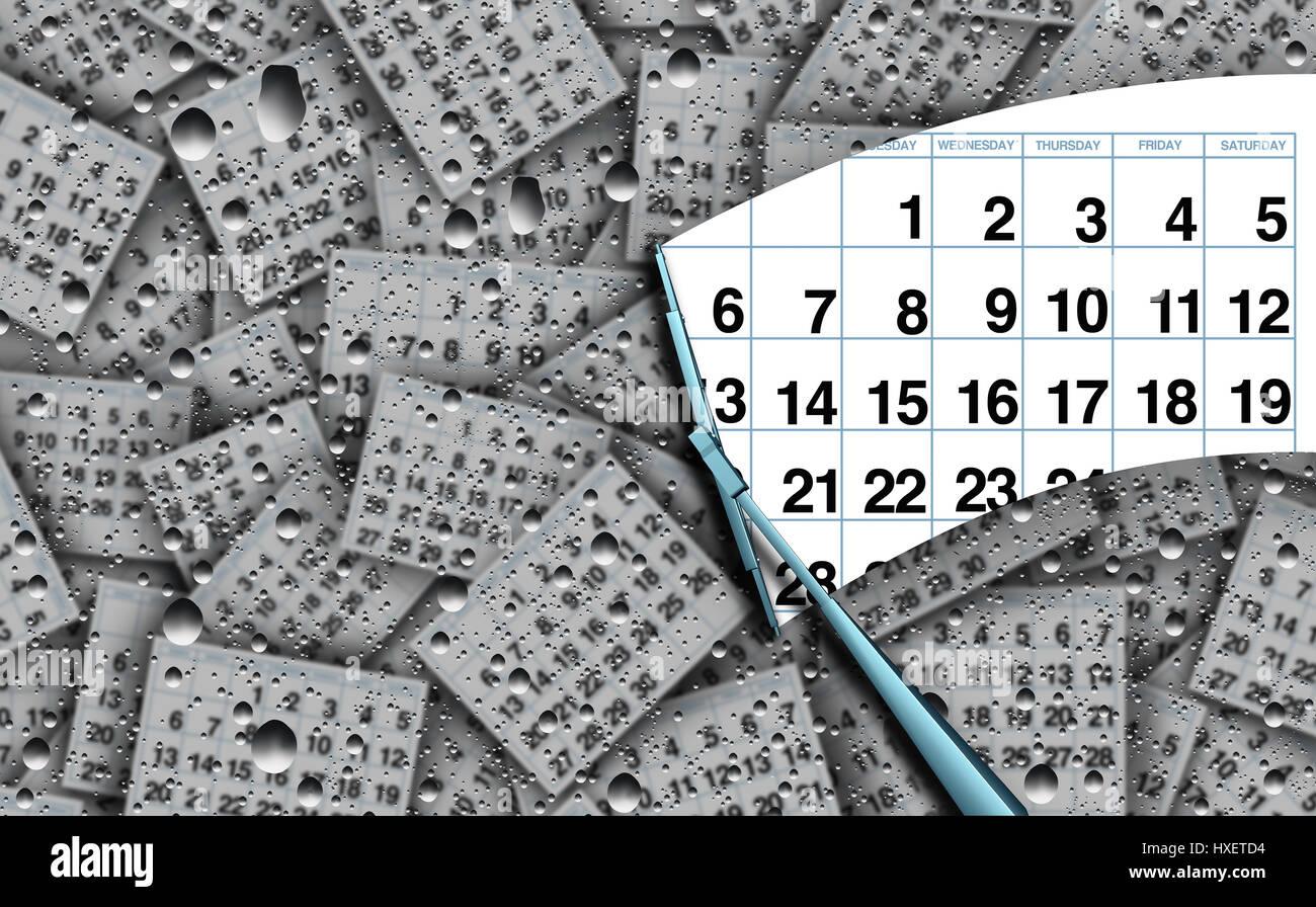 Eine Terminkalender Konzept und Termin Agenda Geschäft Arbeit Symbol Umgang mit Zeit als ein Abstreifer clearing Stockbild