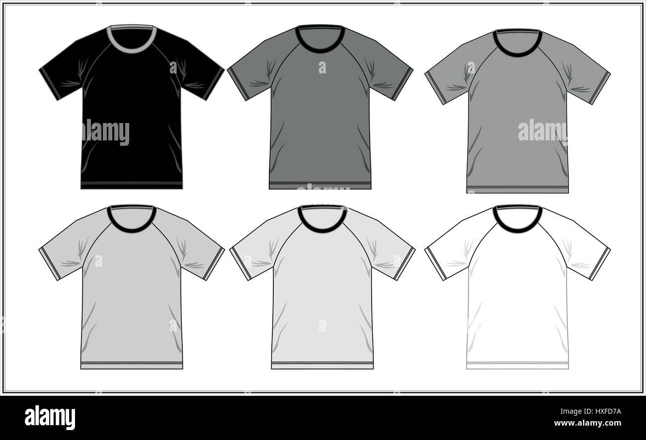 T Shirt Vorlage Raglan schwarz und weiß, Vektor Vektor Abbildung ...