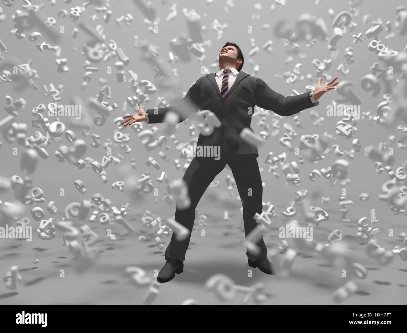 Geschäftsmann in einem Daten-Sturm Stockbild