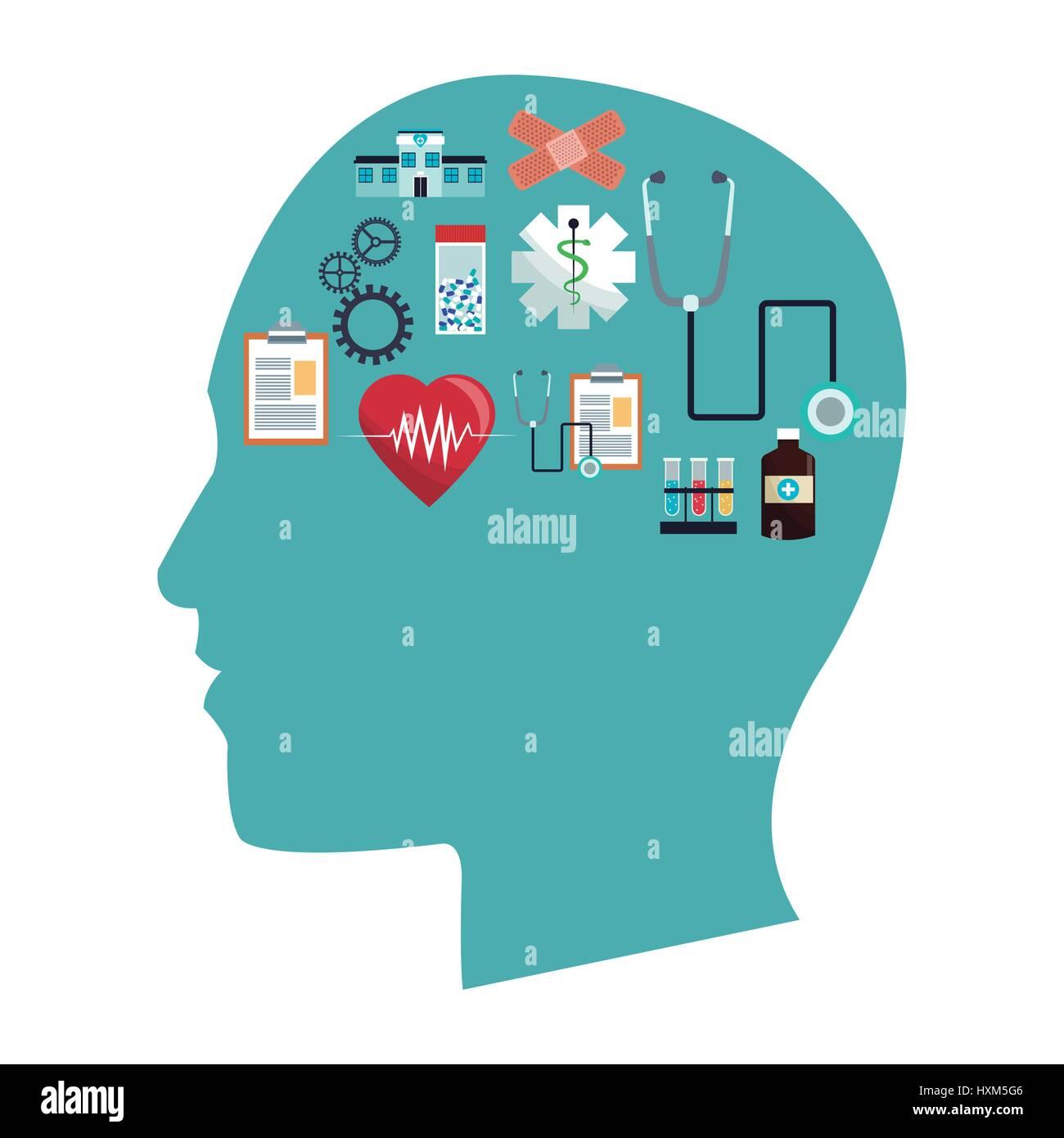 menschliche Kopf im Gesundheitswesen Symbole Stockbild