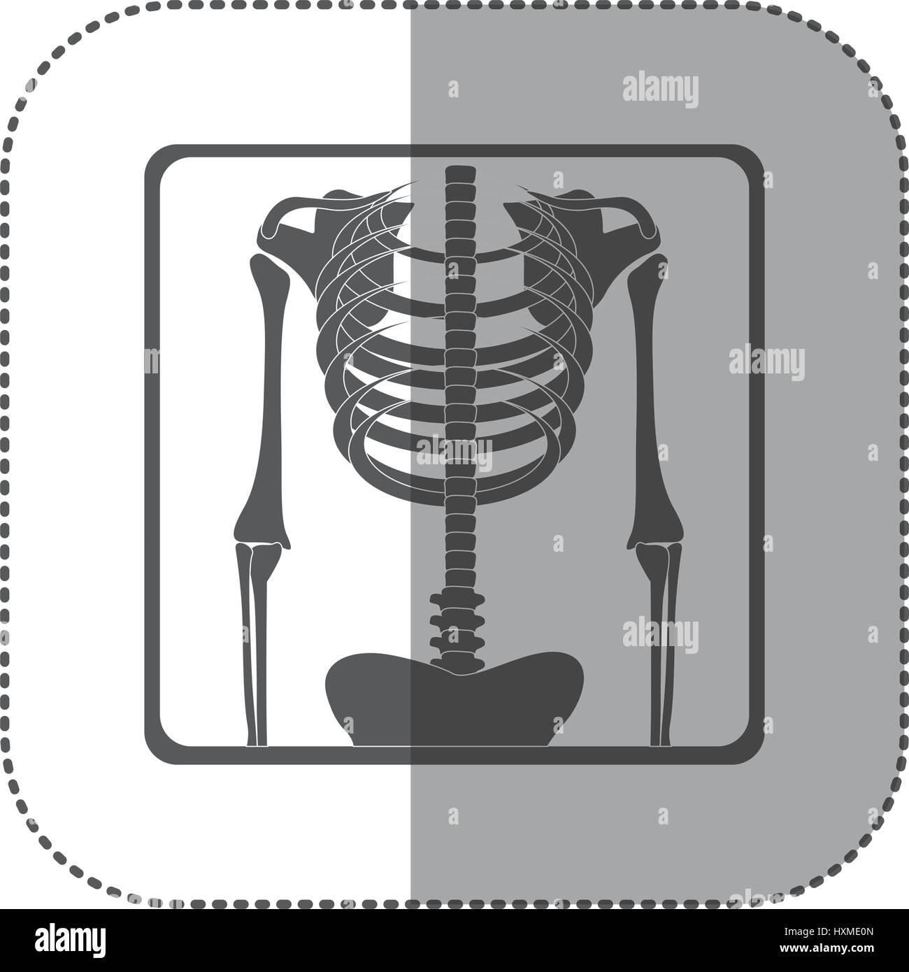 Aufkleber Piktogramm monochrome Skelett Knochen Röntgen Stockbild