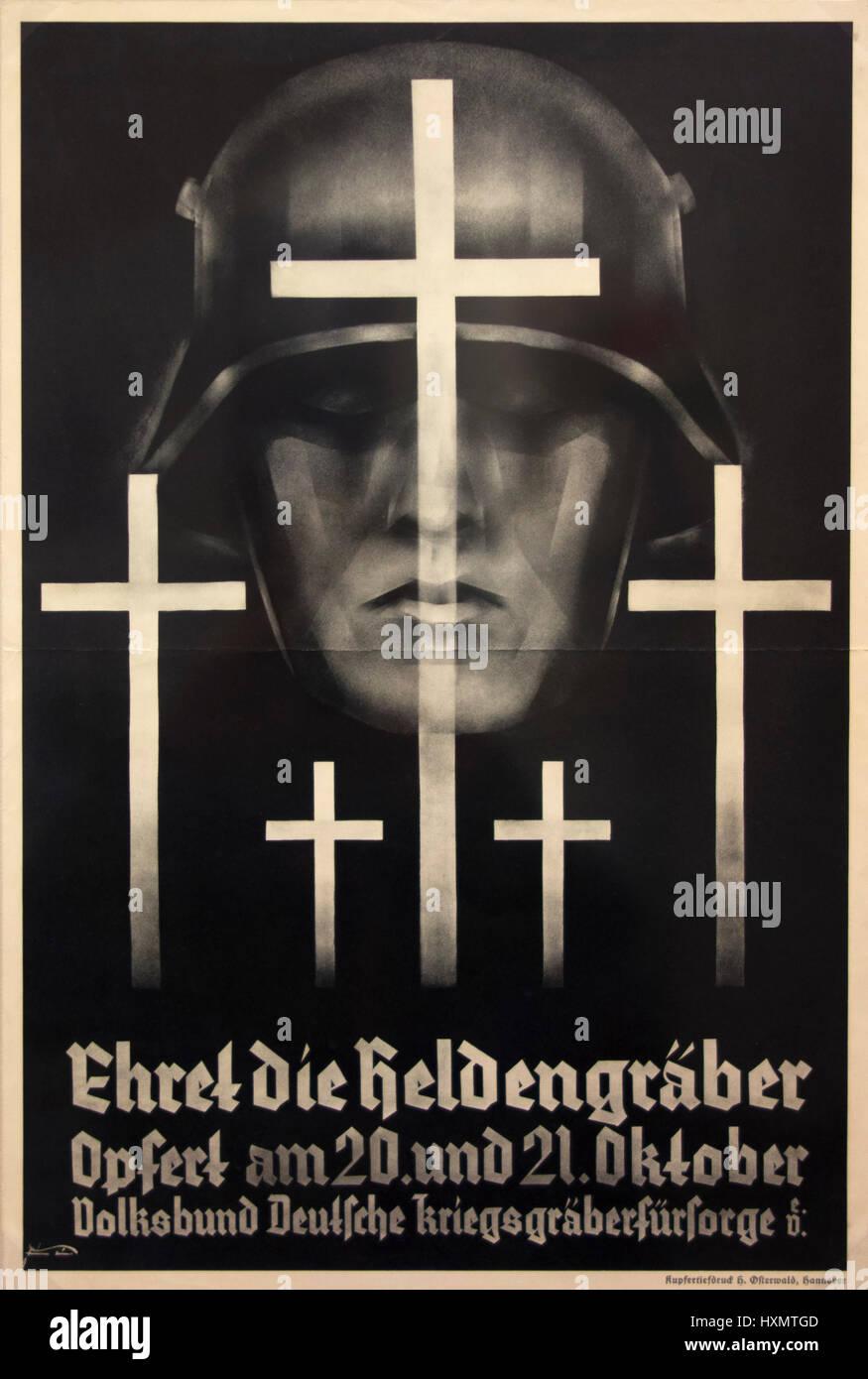 Spendenaufruf für die Volksunion für die Pflege des deutschen Kriegsgräber, Hannover 1934. Gravur. Stockbild