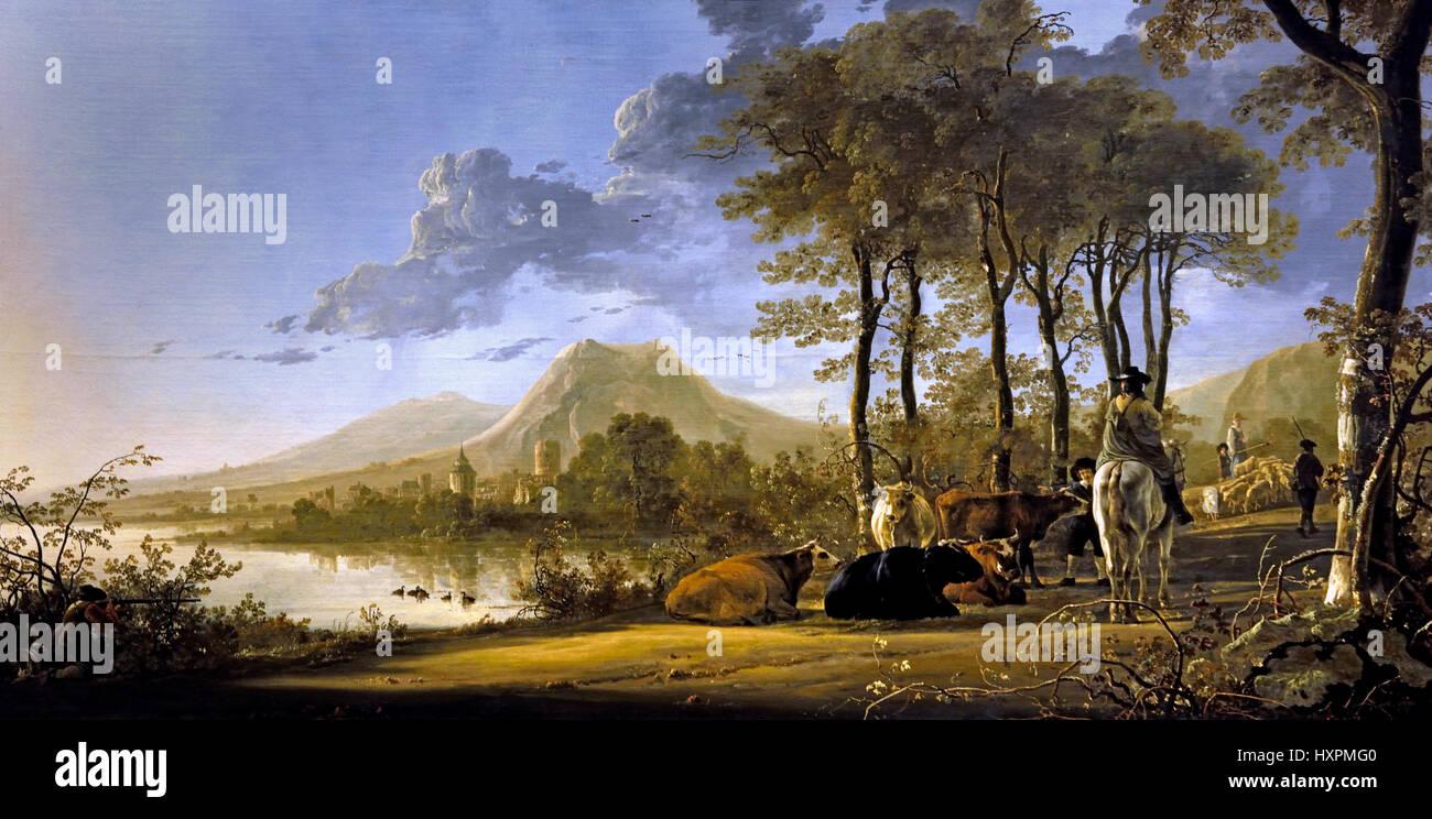 Flusslandschaft mit Reiter und Bauern 1658-1660 Aelbert Cuyp 1620-1691 Niederländisch Niederlande Stockbild